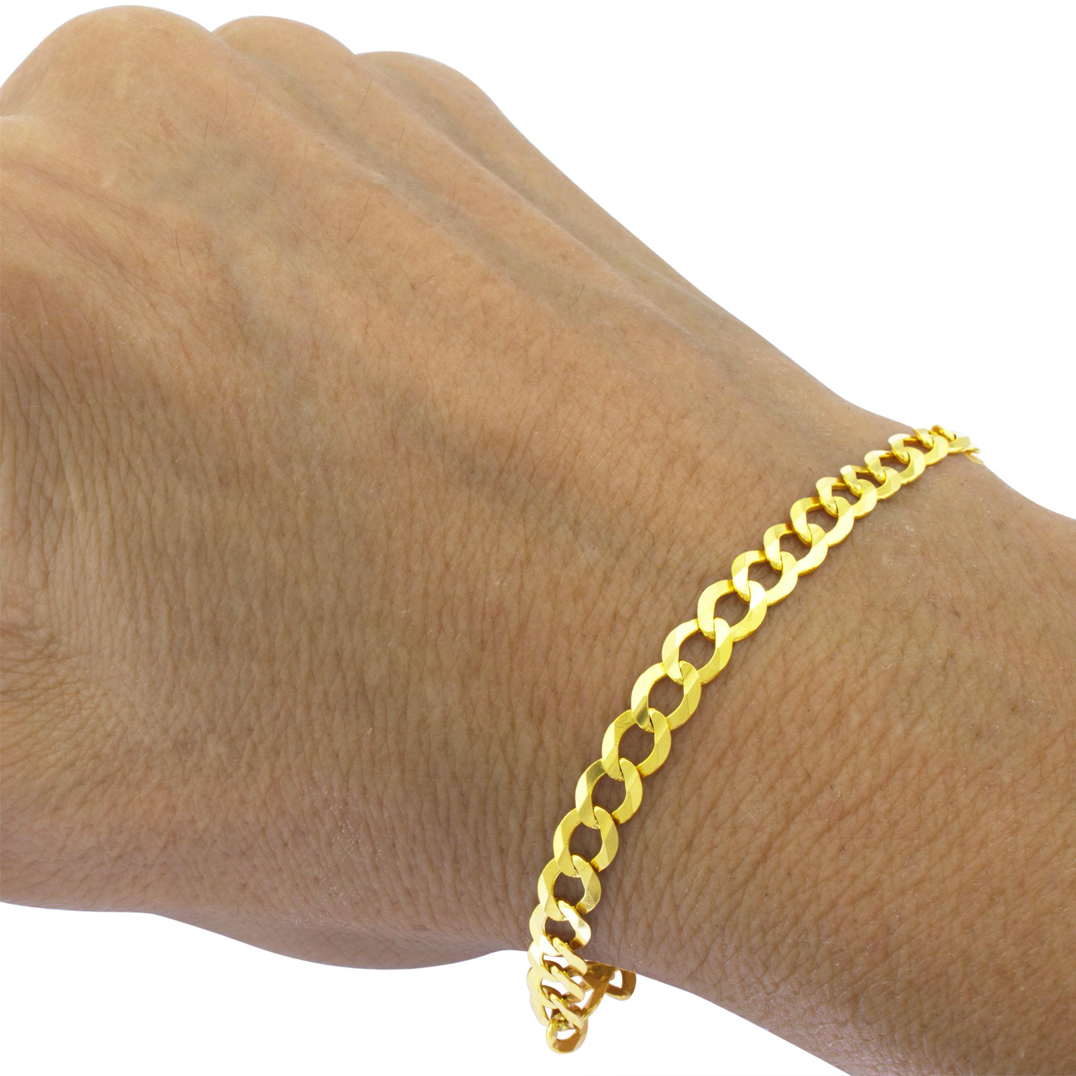 14K-Yellow-Gold-5-5mm-Italian-Curb-Cuban-Link-Chain-Bracelet-Mens-Women-7-034-8-034-9-034 thumbnail 13