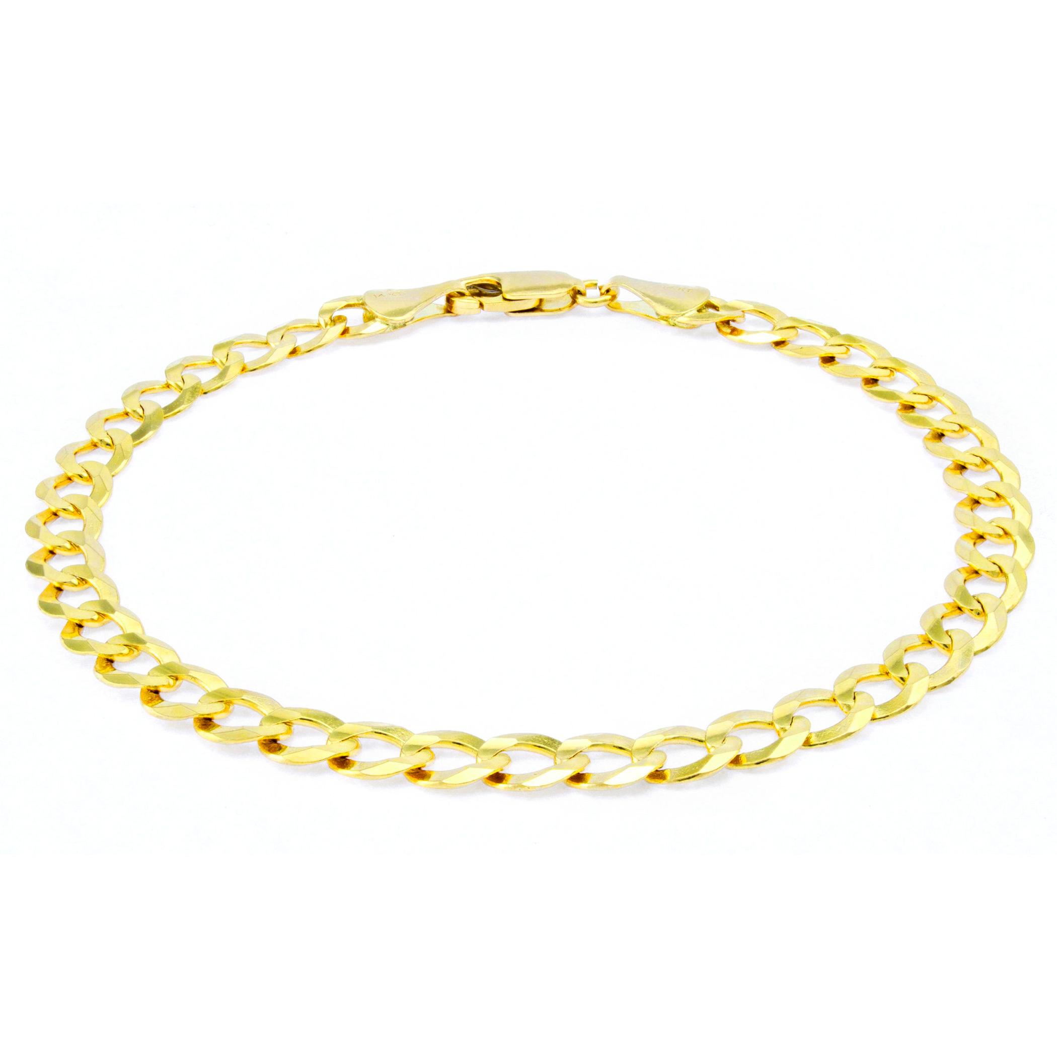 14K-Yellow-Gold-5-5mm-Italian-Curb-Cuban-Link-Chain-Bracelet-Mens-Women-7-034-8-034-9-034 thumbnail 15