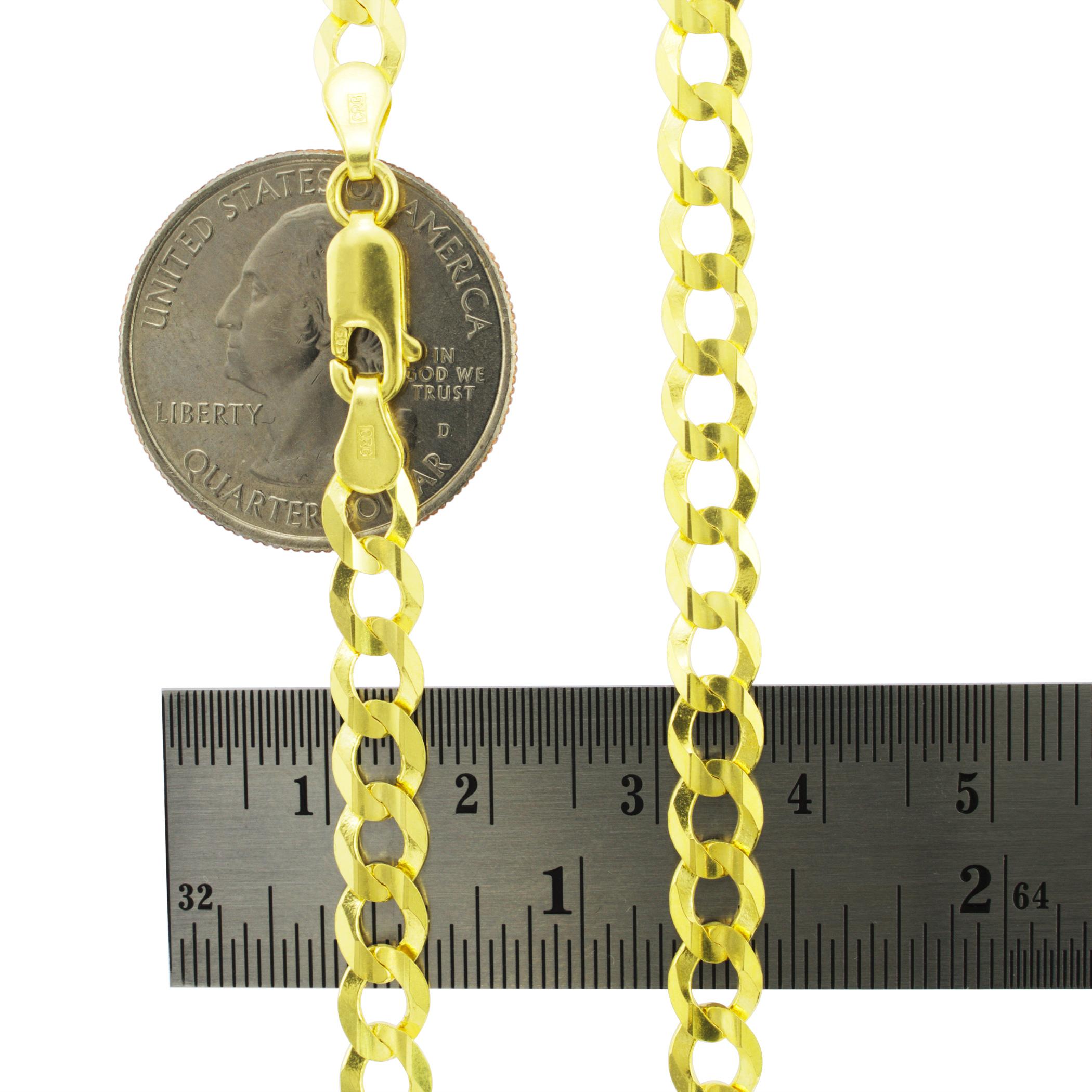 Solid-14K-Yellow-Gold-2-5mm-12mm-Cuban-Curb-Chain-Link-Bracelet-Men-Women-7-034-9-034 thumbnail 22