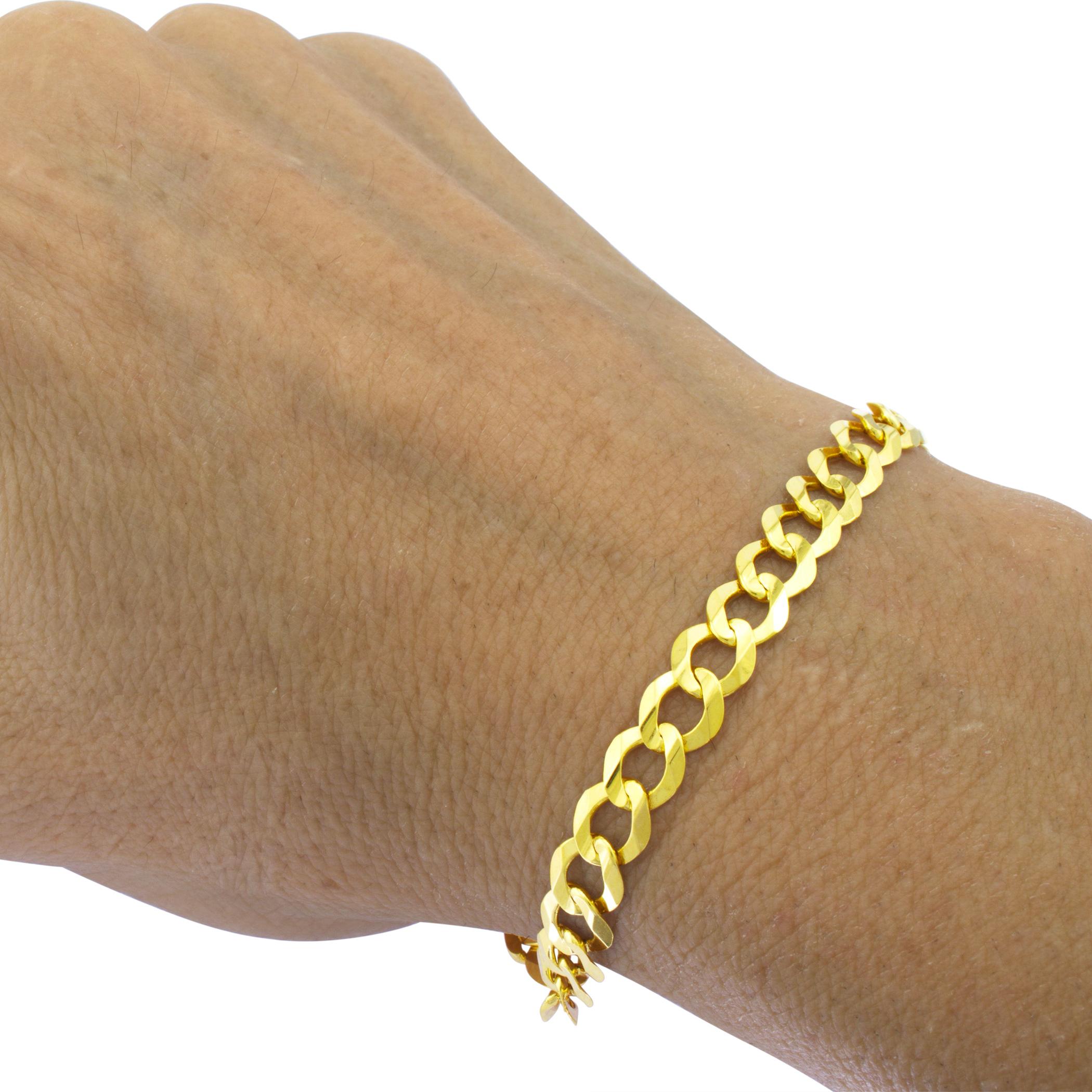 Cadenas De Oro Italiano 14k: 14k Oro Amarillo 6.5mm Italiano Cordón Cubano Brazalete