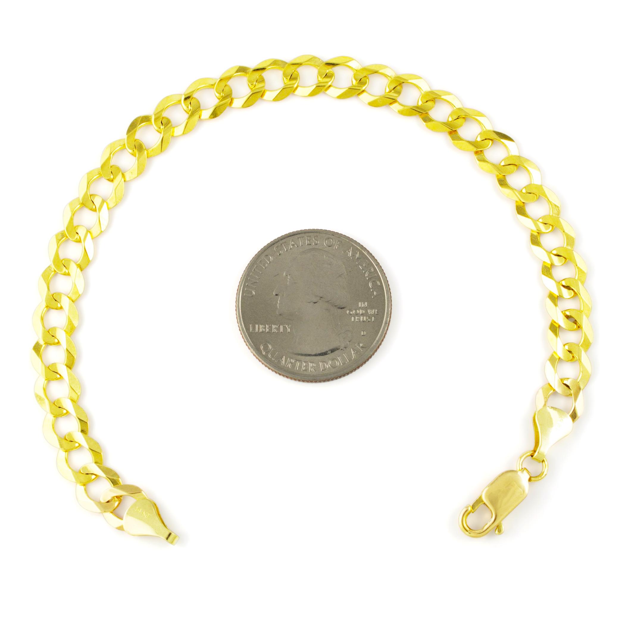 solid 14k mens yellow gold italian 7mm curb cuban chain. Black Bedroom Furniture Sets. Home Design Ideas