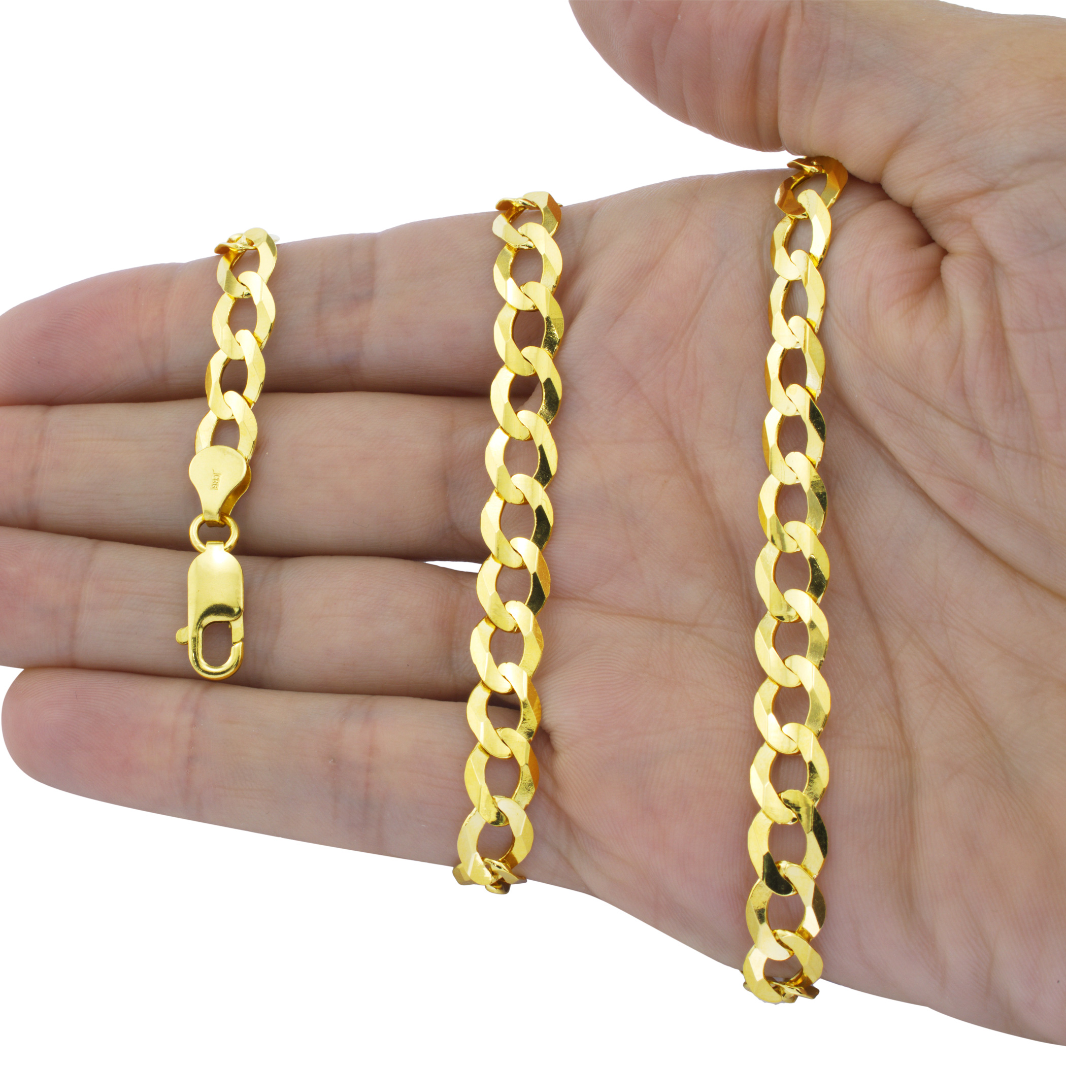 Solid-14K-Yellow-Gold-2-5mm-12mm-Cuban-Curb-Chain-Link-Bracelet-Men-Women-7-034-9-034 thumbnail 25