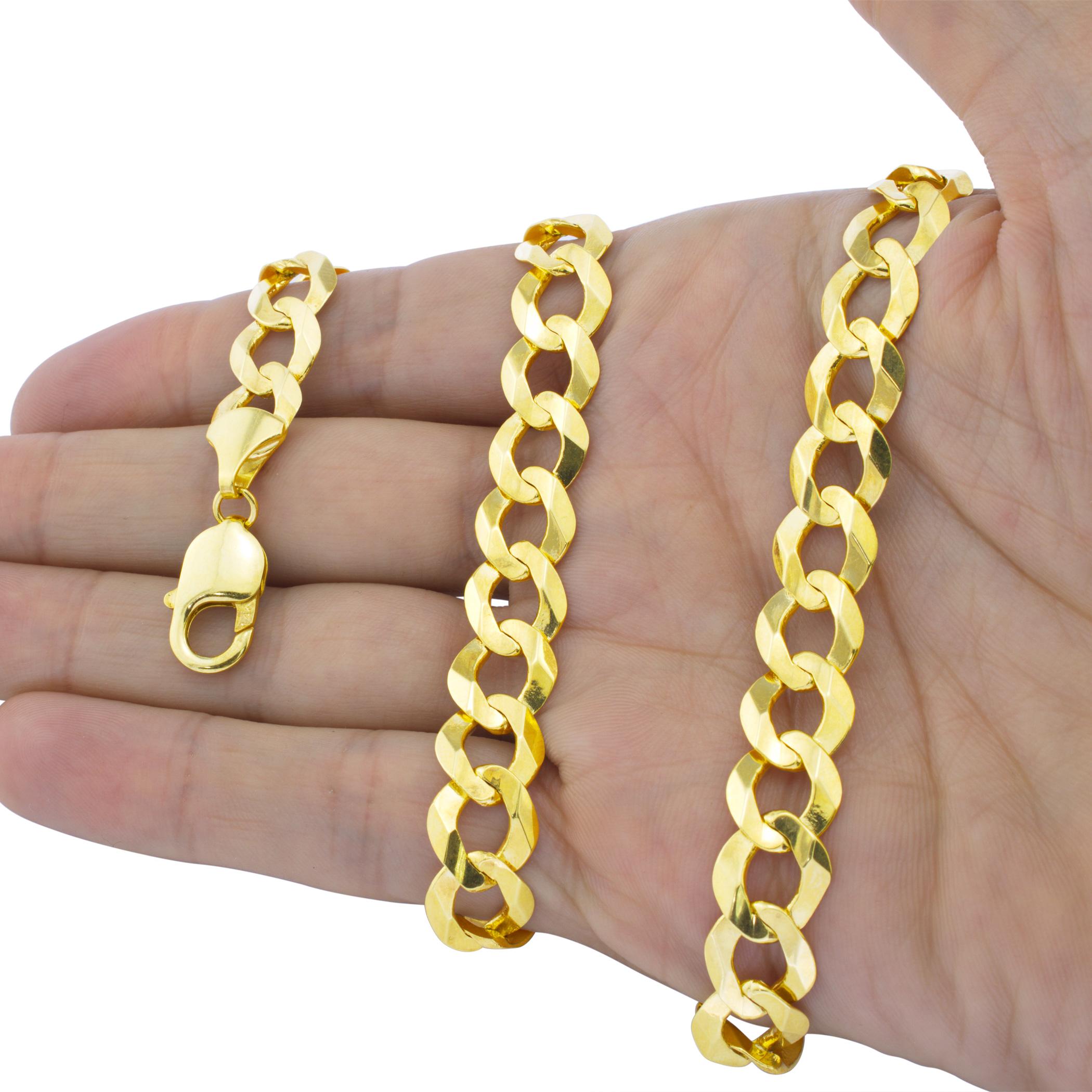 Solid-14K-Yellow-Gold-2-5mm-12mm-Cuban-Curb-Chain-Link-Bracelet-Men-Women-7-034-9-034 thumbnail 9