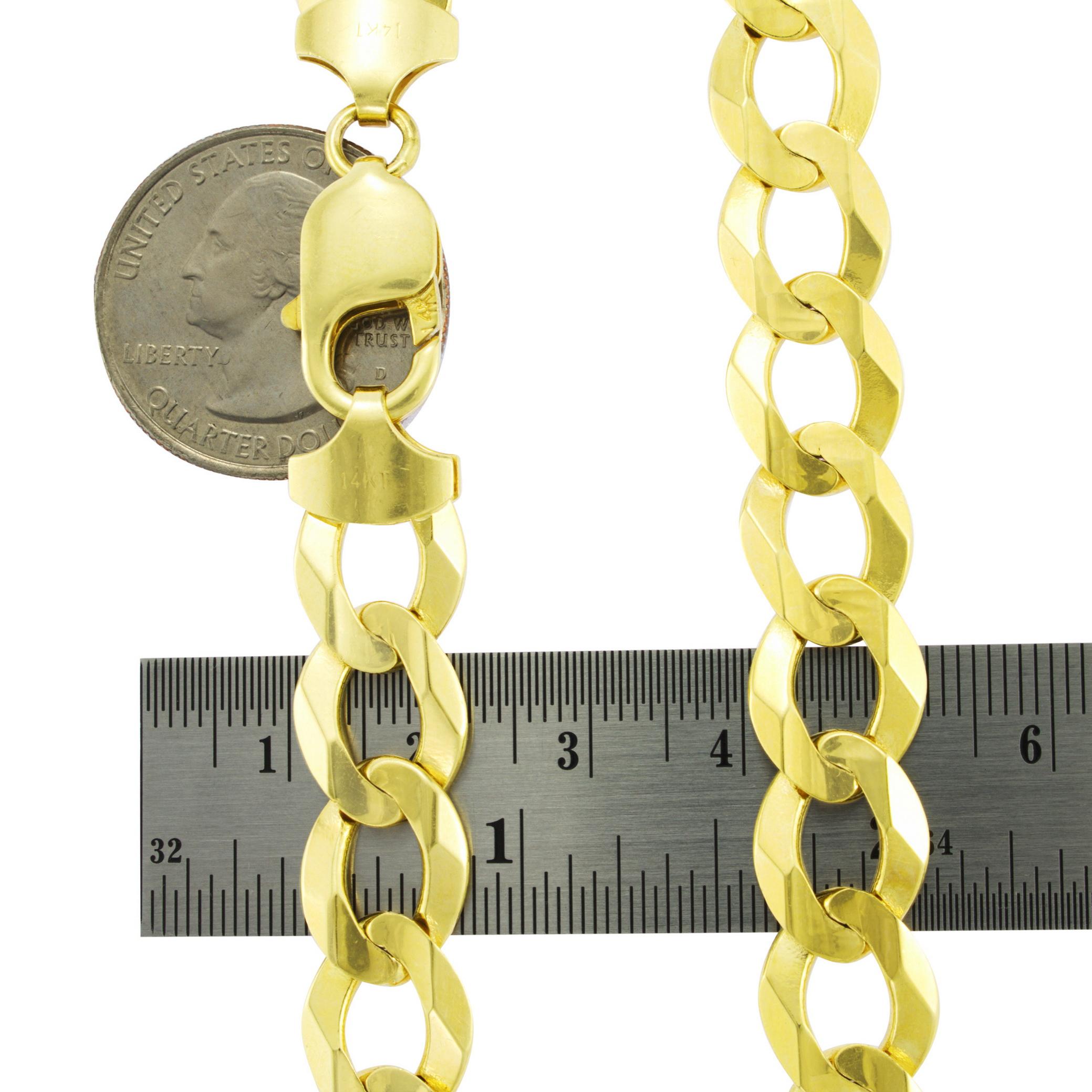 Solid-14K-Yellow-Gold-2-5mm-12mm-Cuban-Curb-Chain-Link-Bracelet-Men-Women-7-034-9-034 thumbnail 12