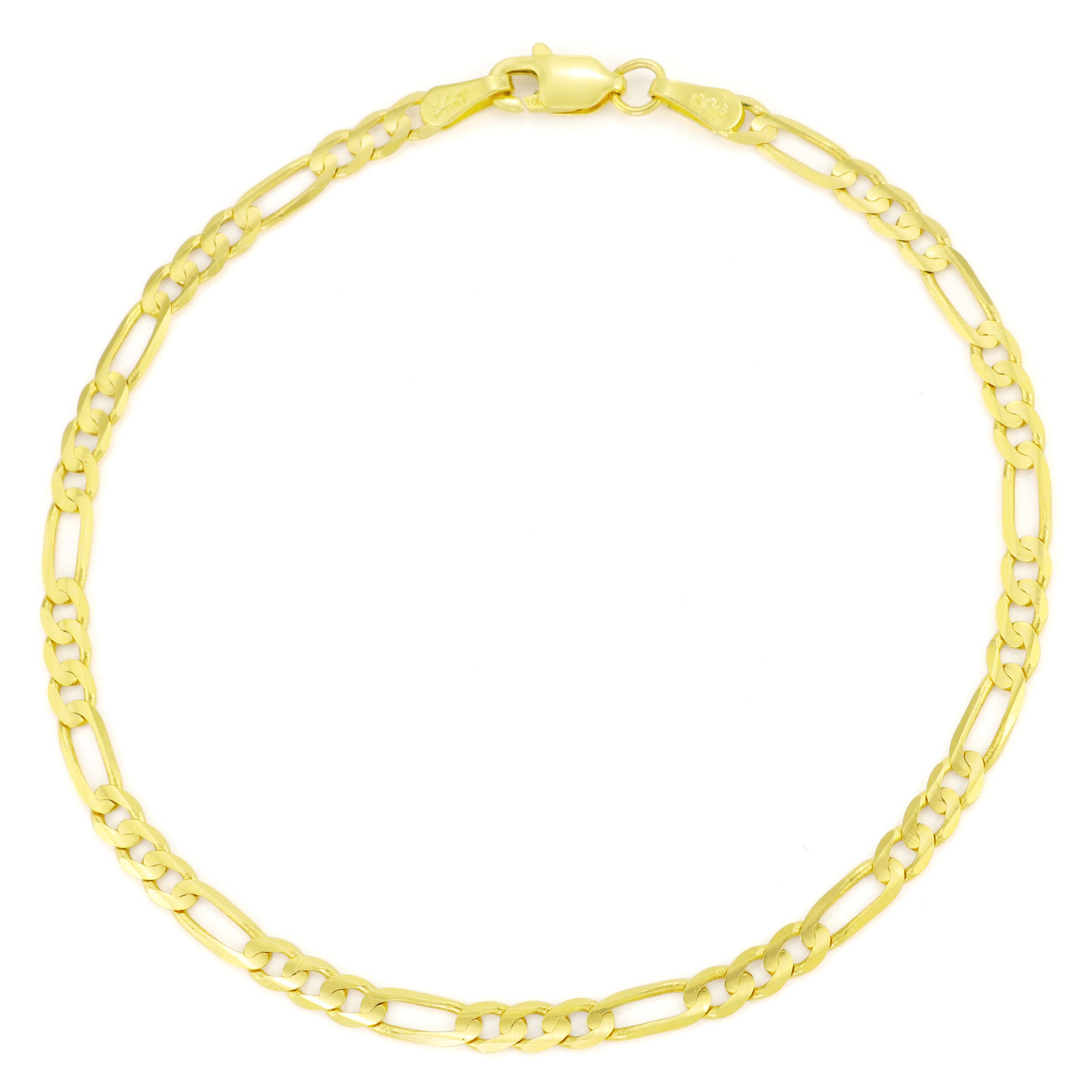 14k Real Yellow Gold Solid Womens 3 5mm Italian Figaro Chain Link