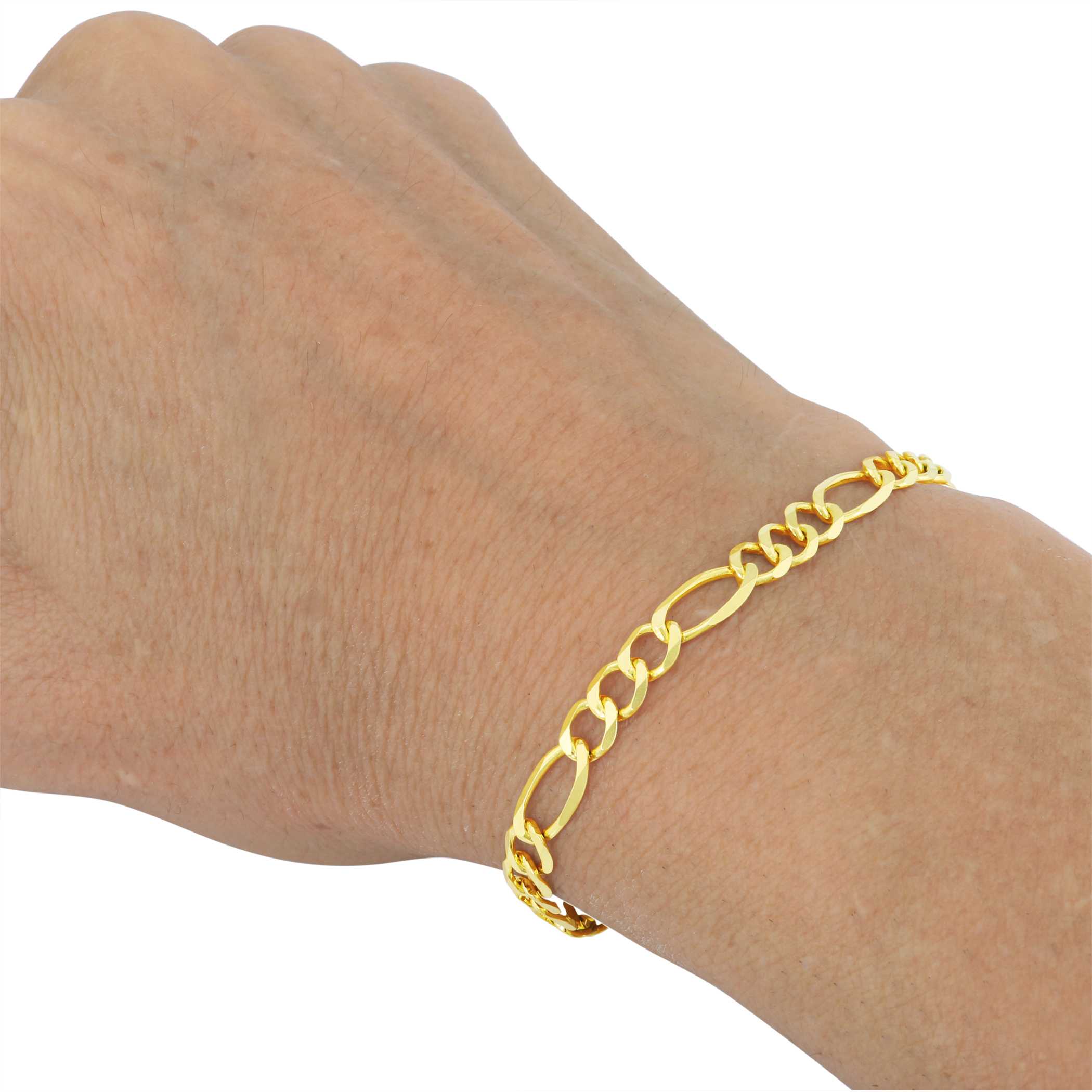 14K-Yellow-Gold-5-5mm-Italian-Figaro-Chain-Link-Bracelet-Mens-Women-7-034-8-034-9-034 thumbnail 14