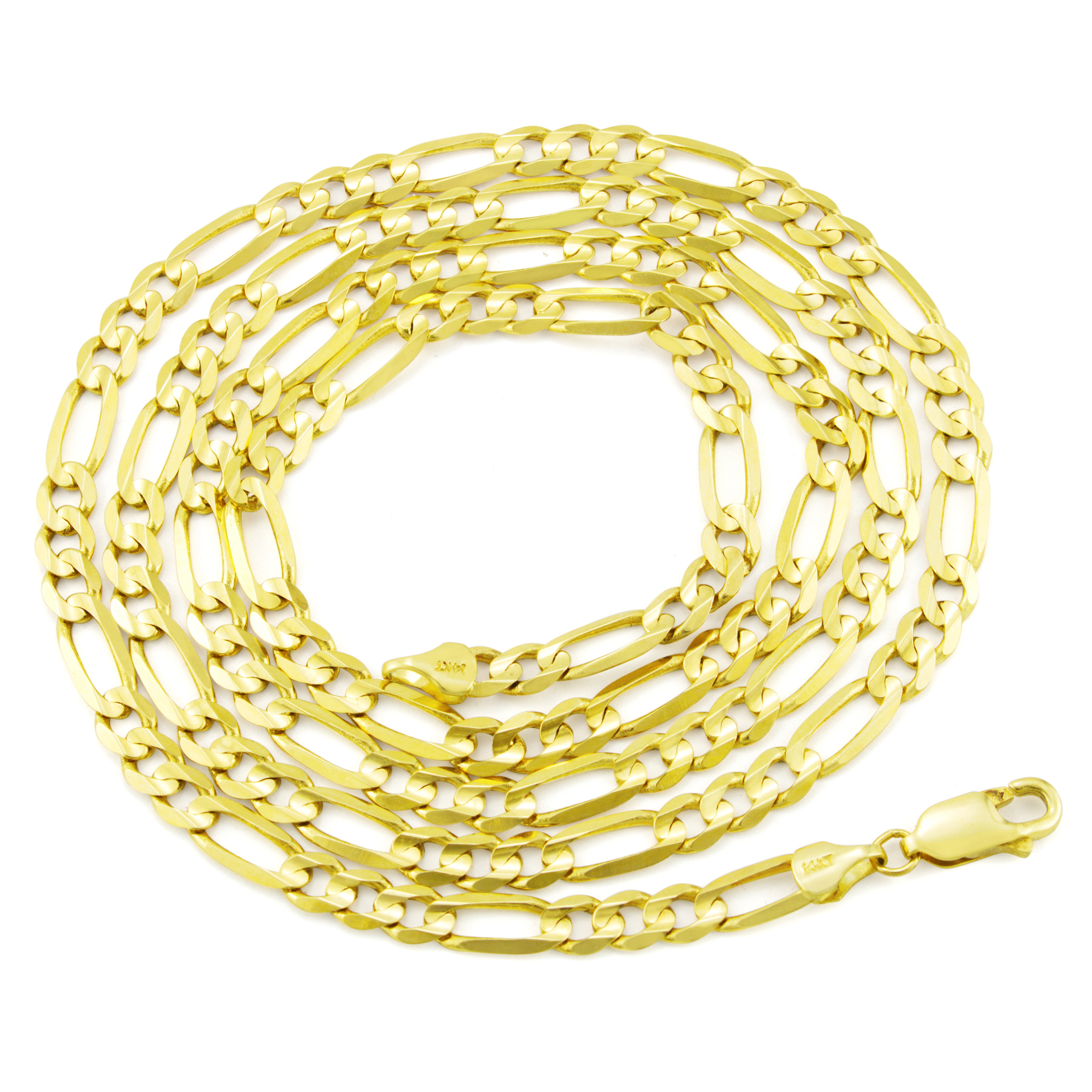 14K-Yellow-Gold-5-5mm-Italian-Figaro-Chain-Link-Bracelet-Mens-Women-7-034-8-034-9-034 thumbnail 23