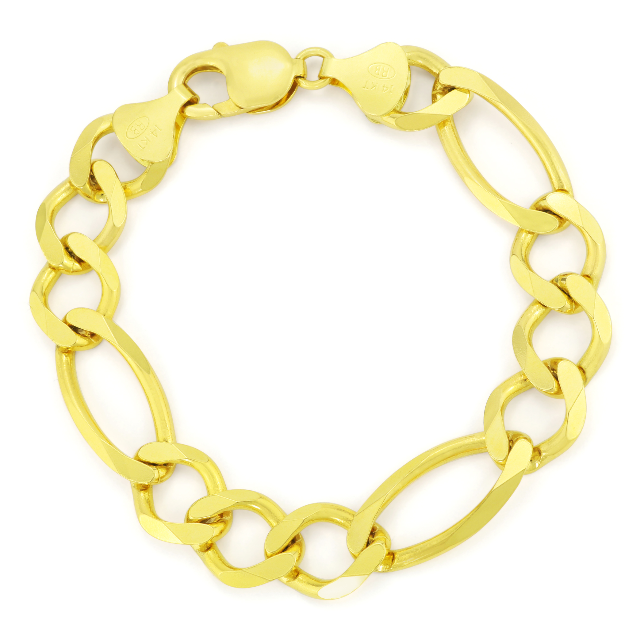 673afa18ba624 Details about Real 14K Yellow Gold Solid Mens 12mm LARGE Figaro Chain Link  Bracelet 8