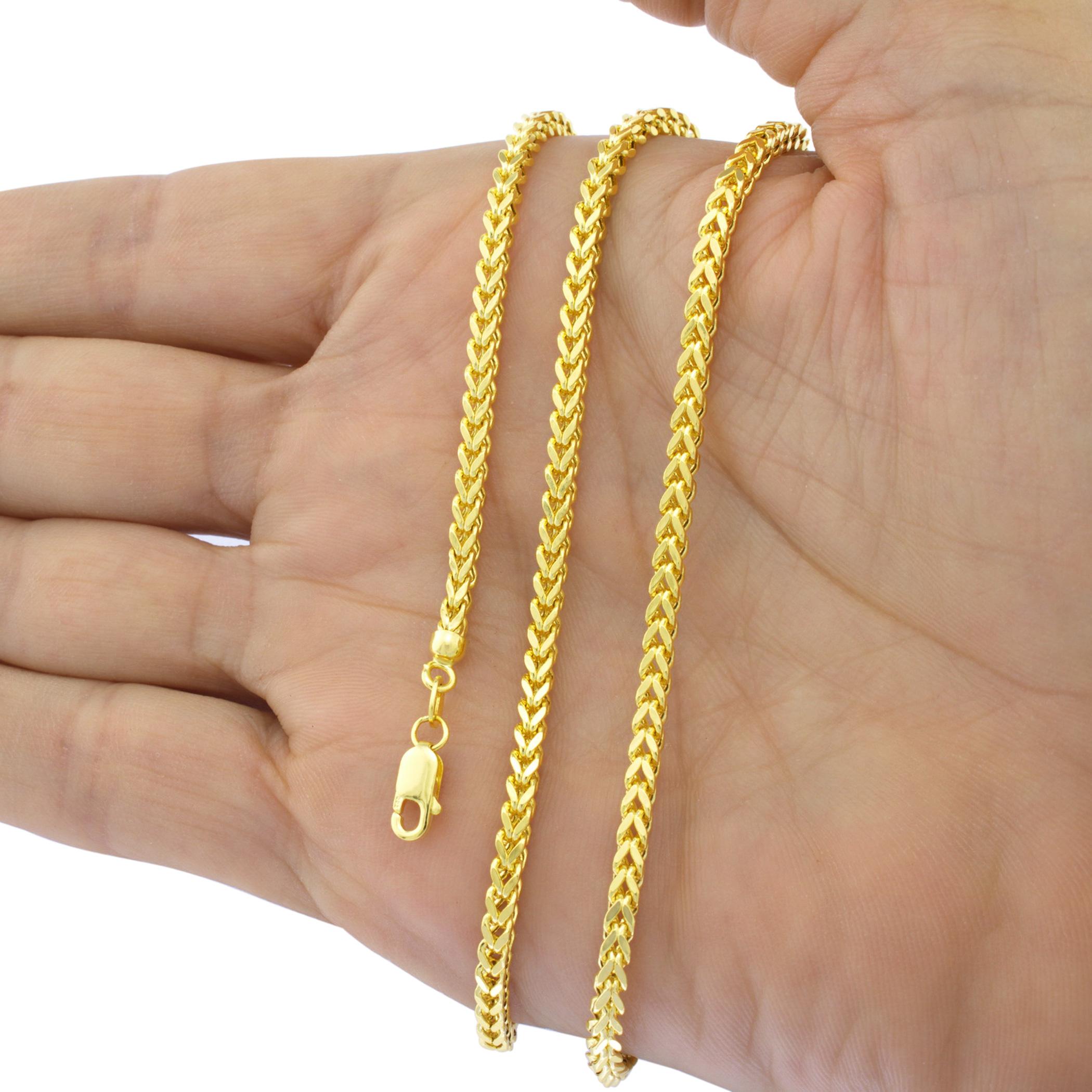 14k White Gold .90mm Round Wheat Chain