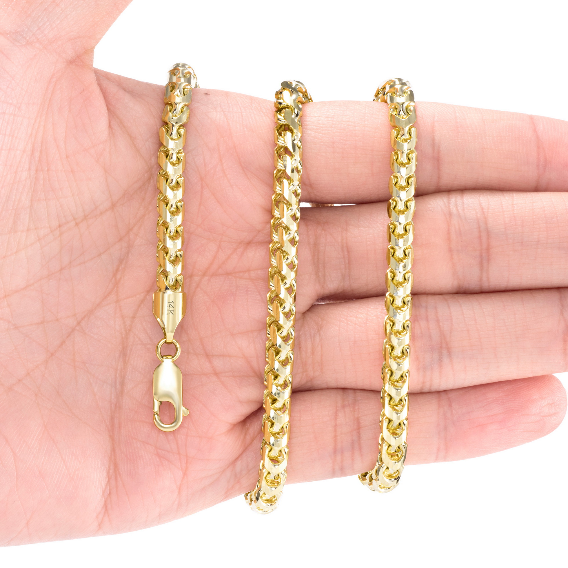 14K-Yellow-Gold-Solid-0-9mm-6mm-Round-Box-Franco-Chain-Pendant-Necklace-16-034-30-034 thumbnail 27