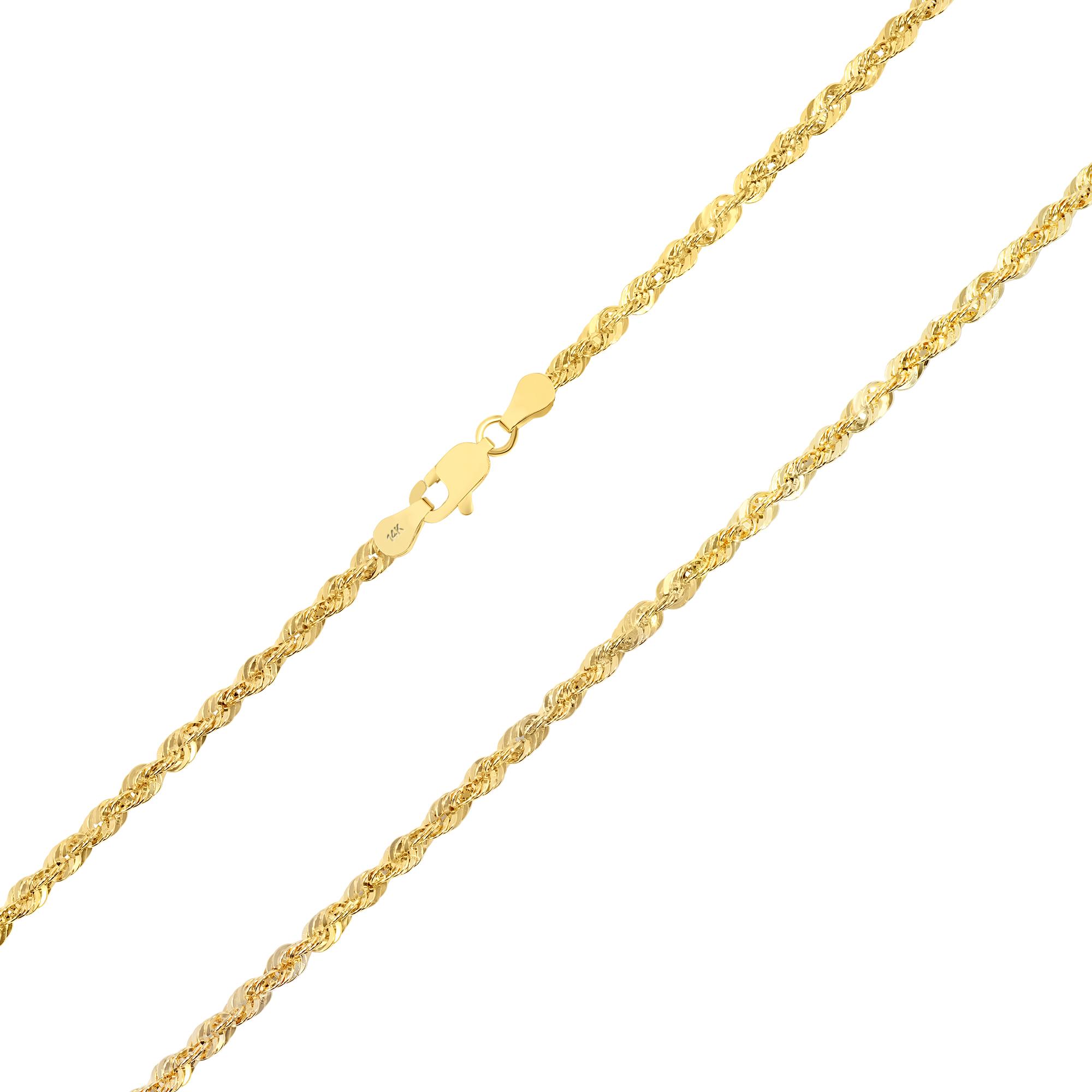 Details zu Original 14K Gelbgold 3mm Herren Seil Italienische Kette Glieder Anhänger 76.2cm