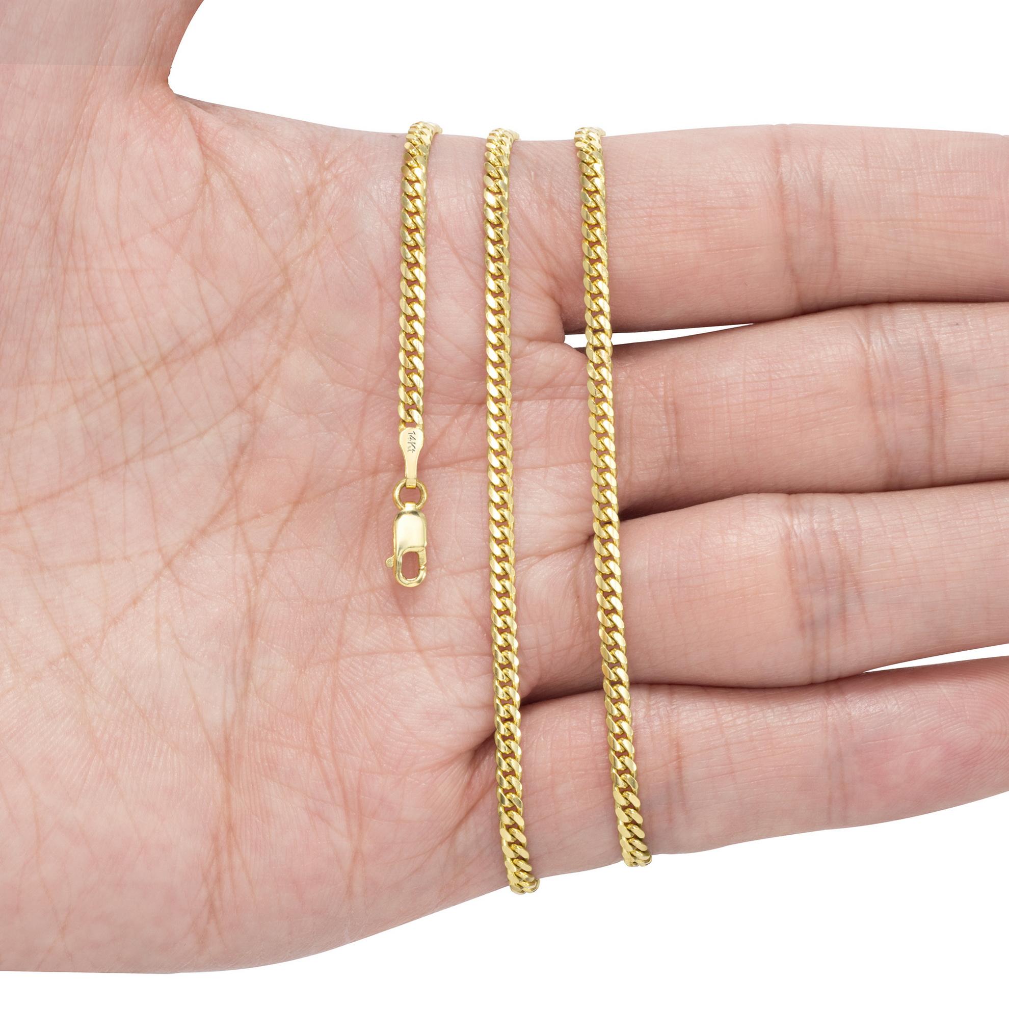 14K-Yellow-Gold-Solid-2-7mm-11mm-Miami-Cuban-Link-Chain-Bracelet-Men-Women-7-034-9-034 thumbnail 13