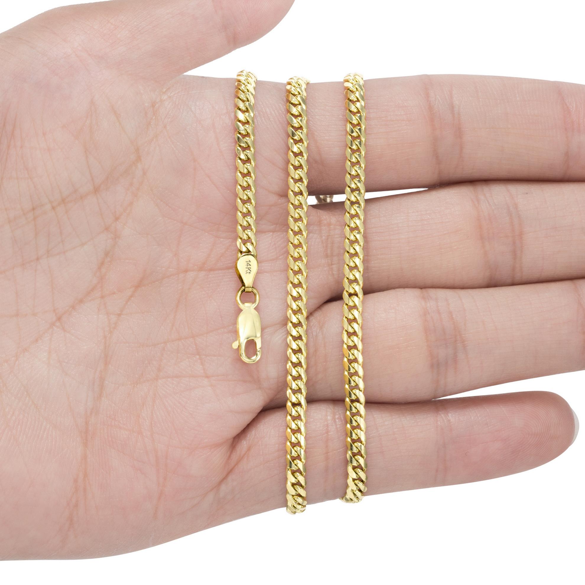 14K-Yellow-Gold-Solid-2-7mm-11mm-Miami-Cuban-Link-Chain-Bracelet-Men-Women-7-034-9-034 thumbnail 15