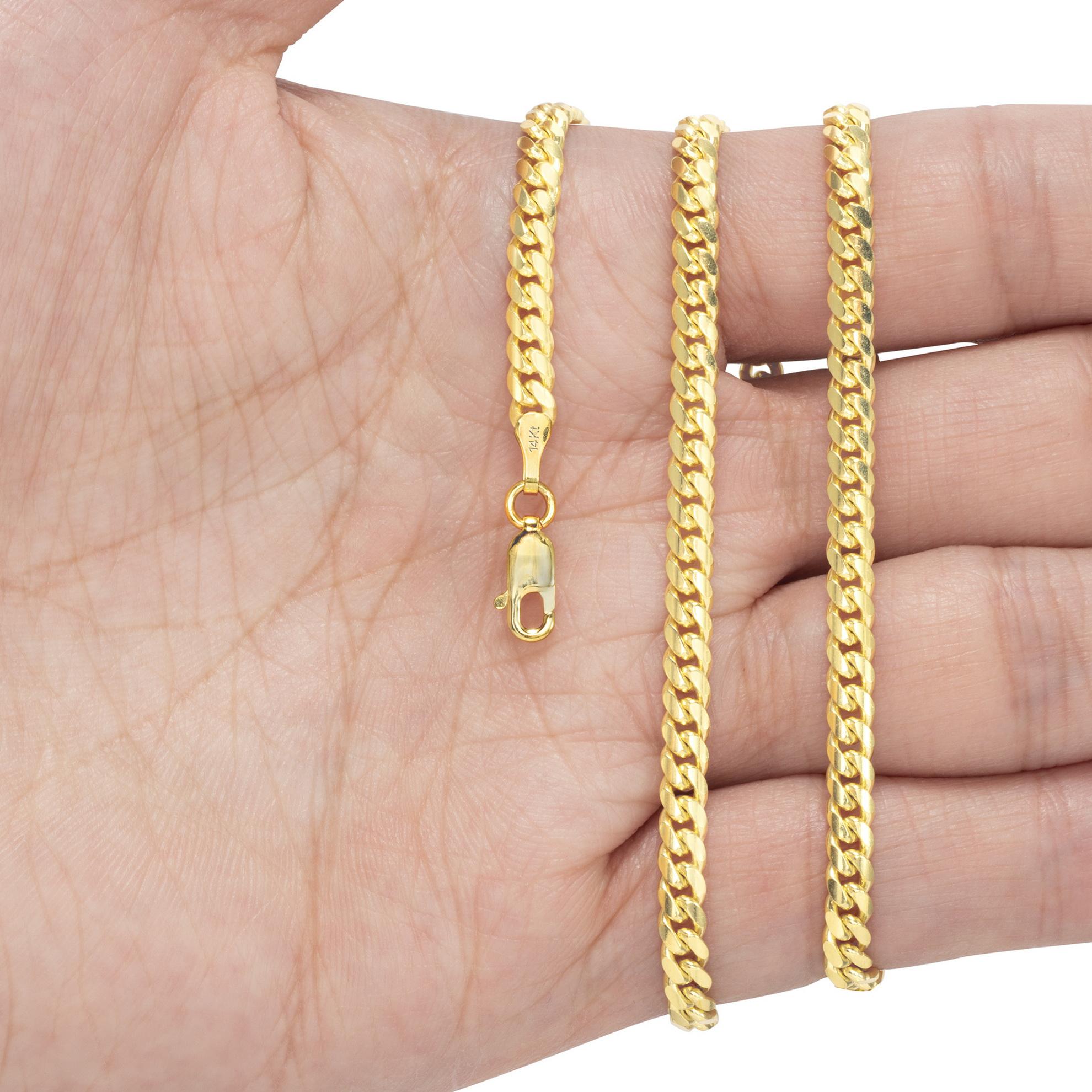 14K-Yellow-Gold-Solid-2-7mm-11mm-Miami-Cuban-Link-Chain-Bracelet-Men-Women-7-034-9-034 thumbnail 17