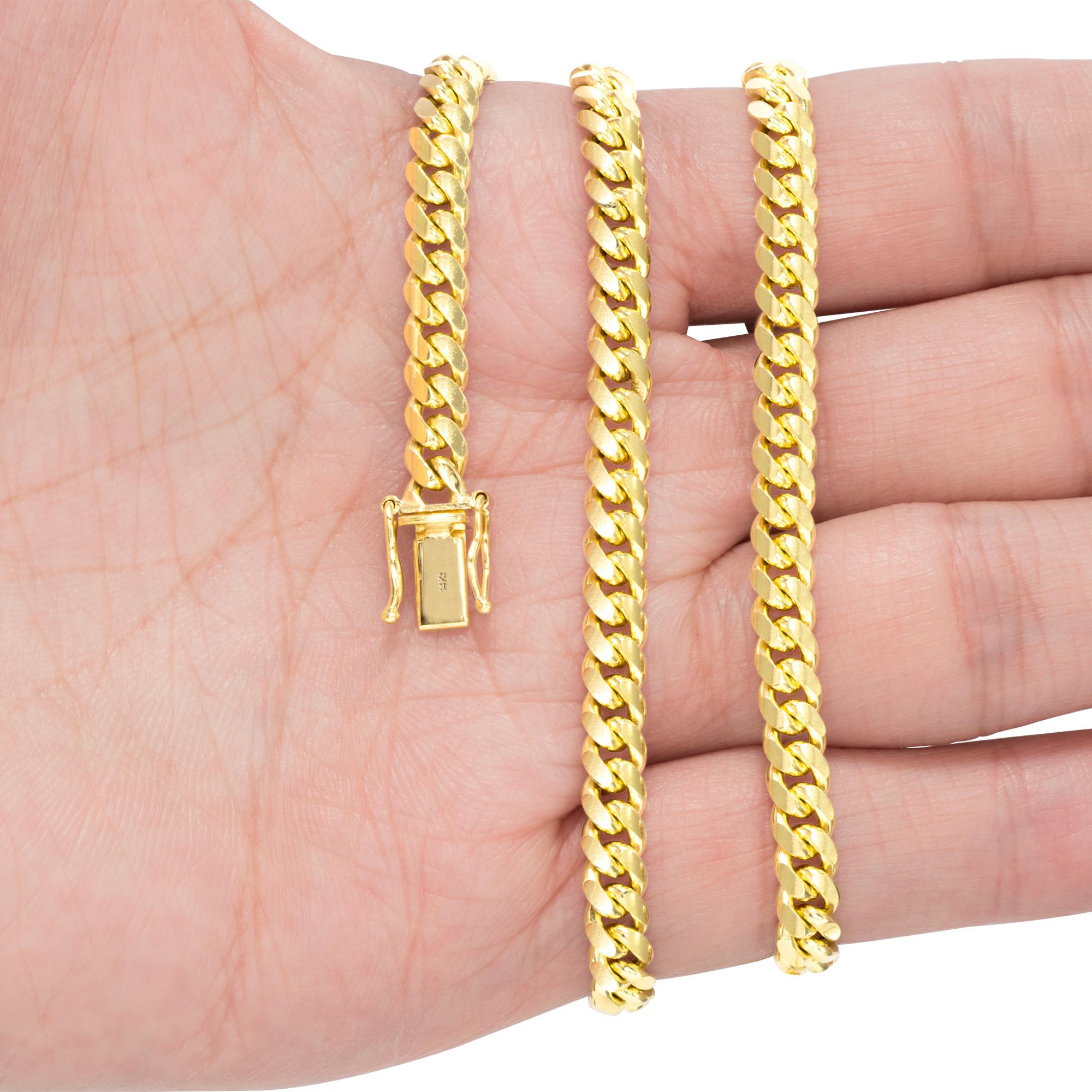 14K-Yellow-Gold-Solid-2-7mm-11mm-Miami-Cuban-Link-Chain-Bracelet-Men-Women-7-034-9-034 thumbnail 19