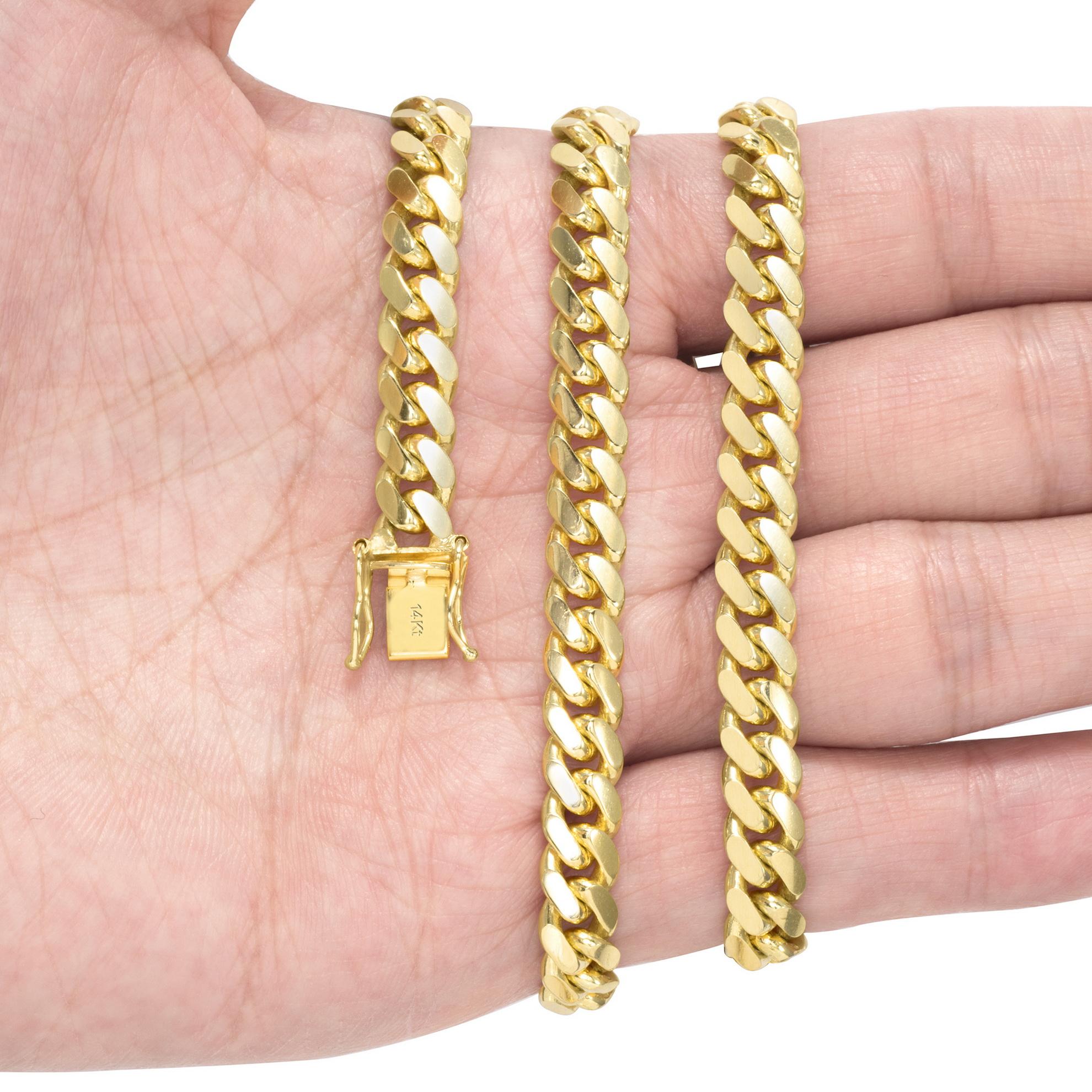 14K-Yellow-Gold-Solid-2-7mm-11mm-Miami-Cuban-Link-Chain-Bracelet-Men-Women-7-034-9-034 thumbnail 23