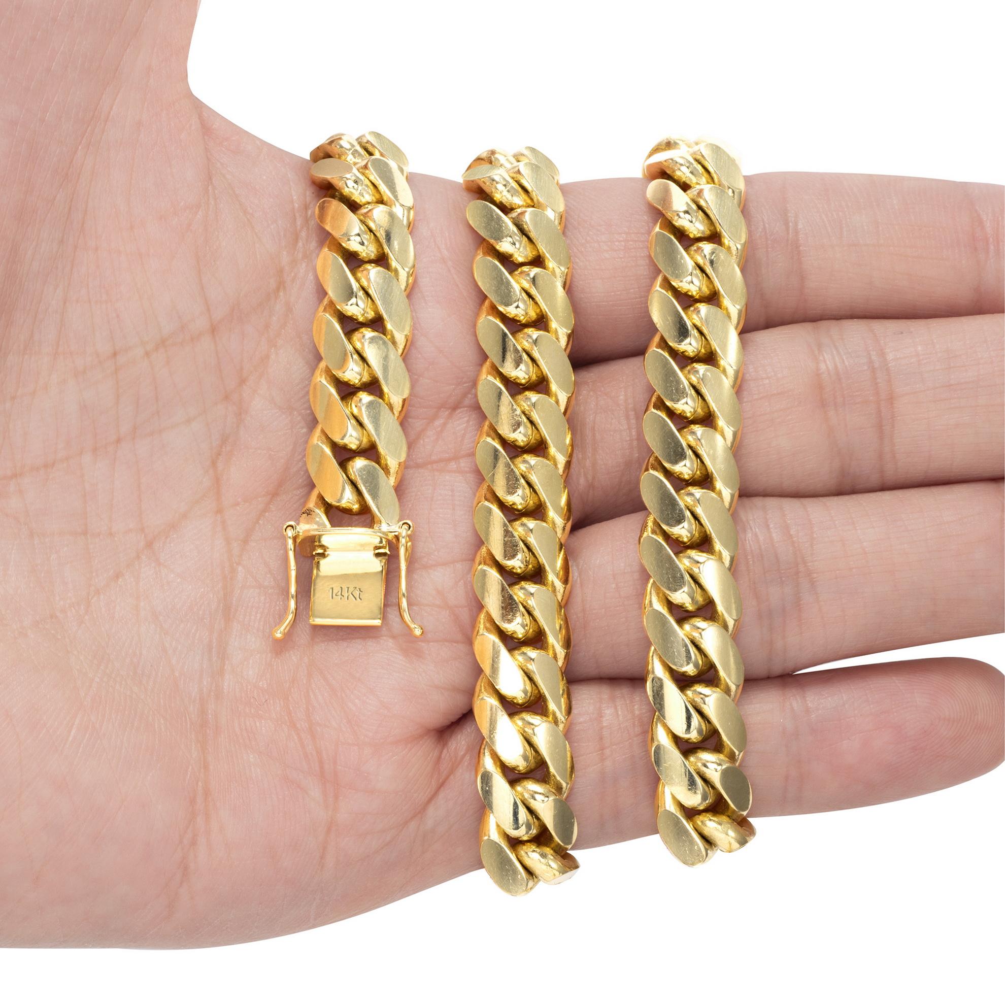 14K-Yellow-Gold-Solid-2-7mm-11mm-Miami-Cuban-Link-Chain-Bracelet-Men-Women-7-034-9-034 thumbnail 9
