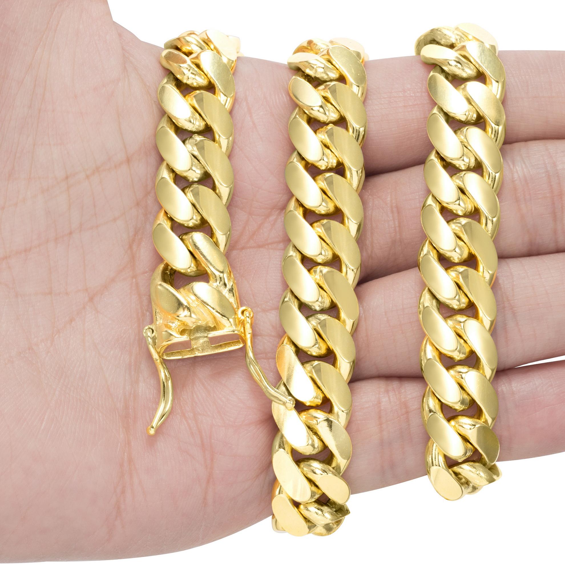 14K-Yellow-Gold-Solid-2-7mm-11mm-Miami-Cuban-Link-Chain-Bracelet-Men-Women-7-034-9-034 thumbnail 11