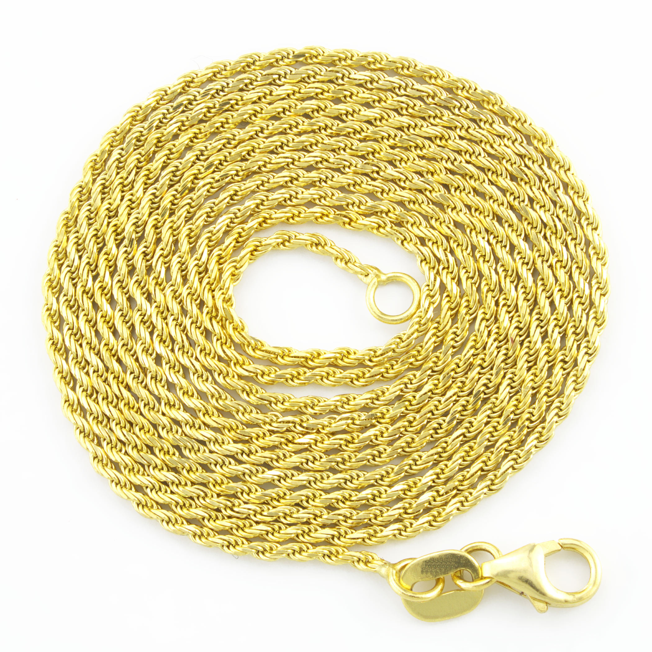 14k Yellow Gold 3 Layer Ropa Circles Chain Necklace 16inch
