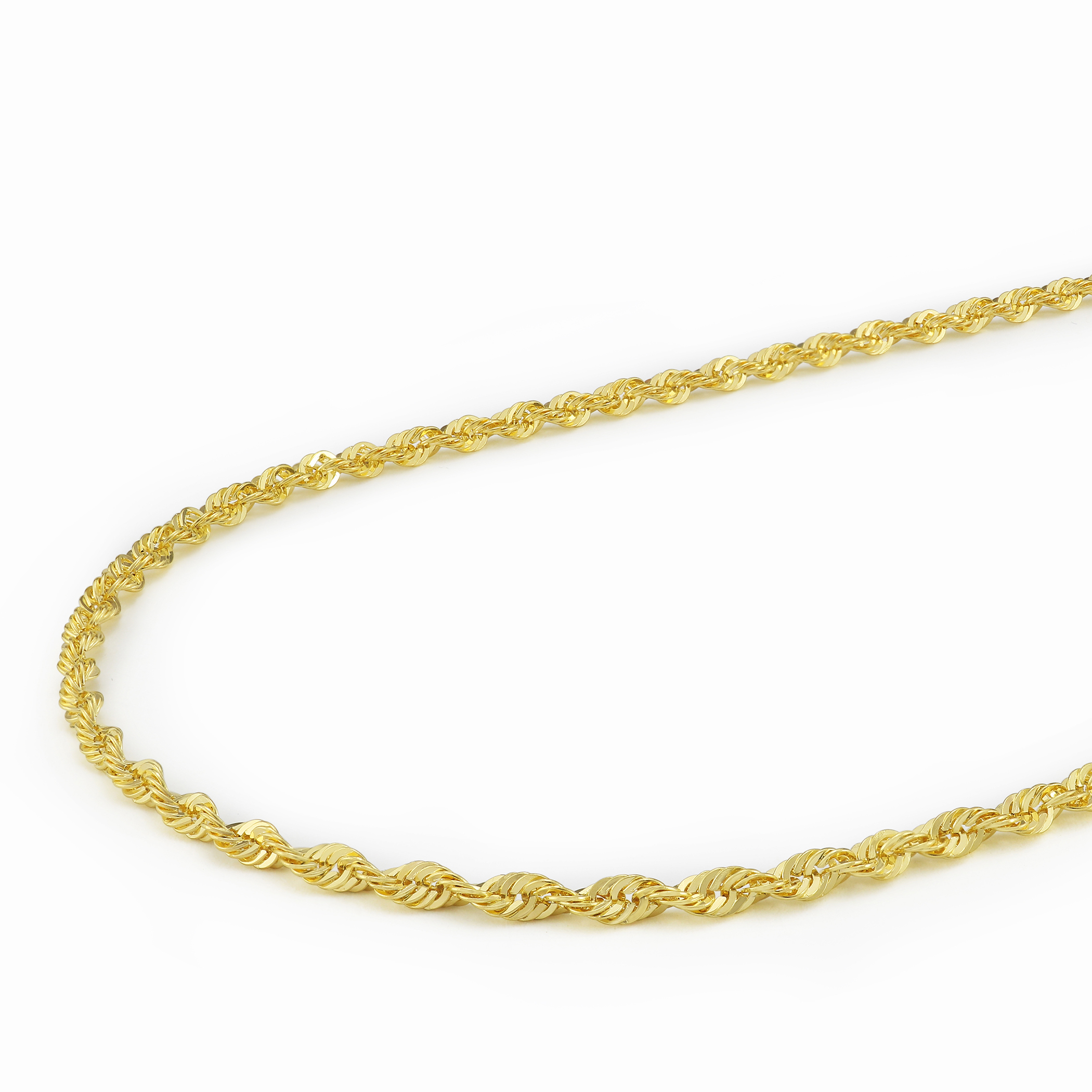 14K-Yellow-Gold-Solid-1-8mm-Diamond-Cut-Rope-Link-Chain-Pendant-Necklace-16-034-30-034 thumbnail 24