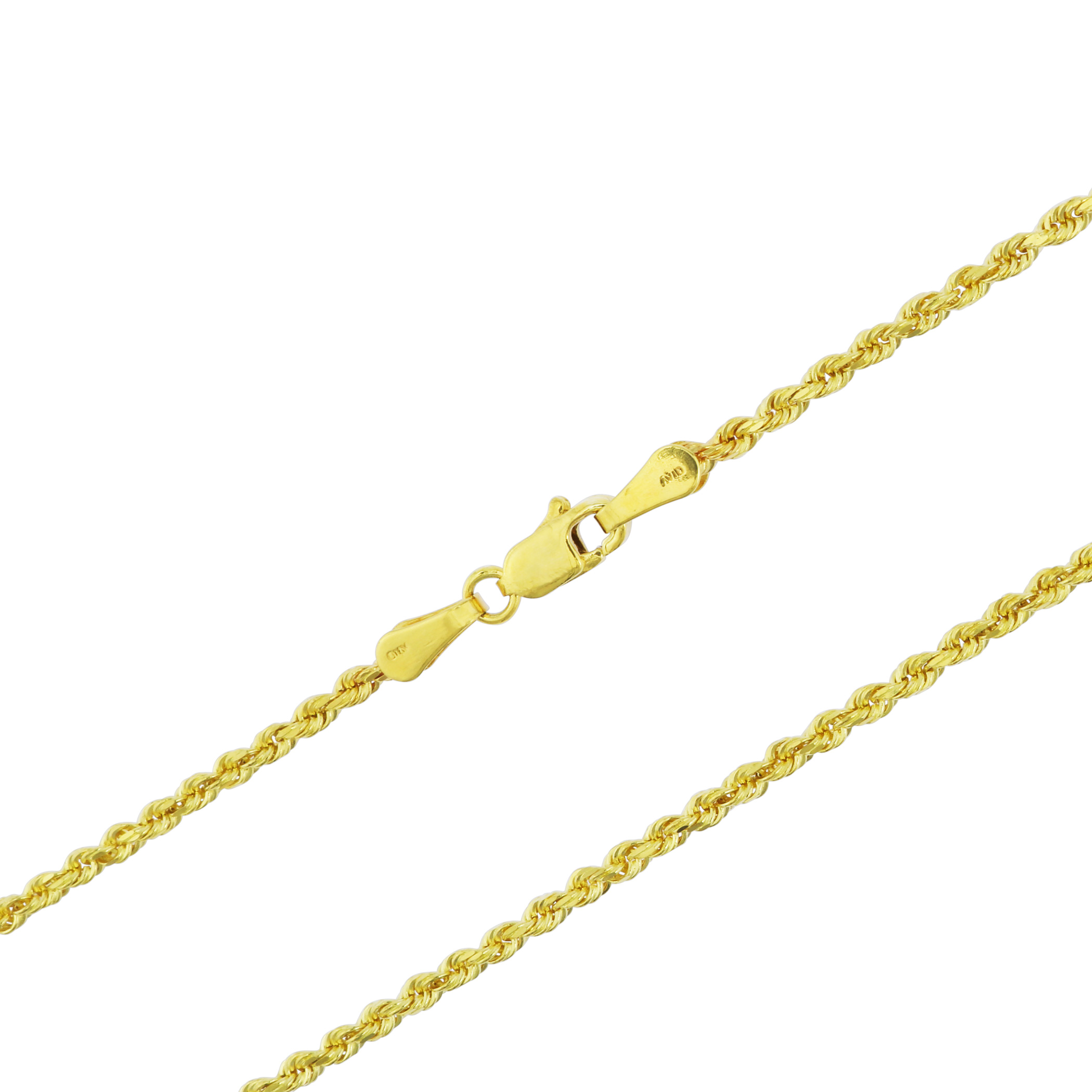 1687379fed446 Details about Solid 14k Yellow Gold 2mm Italian Diamond Cut Rope Link Chain  Necklace 16