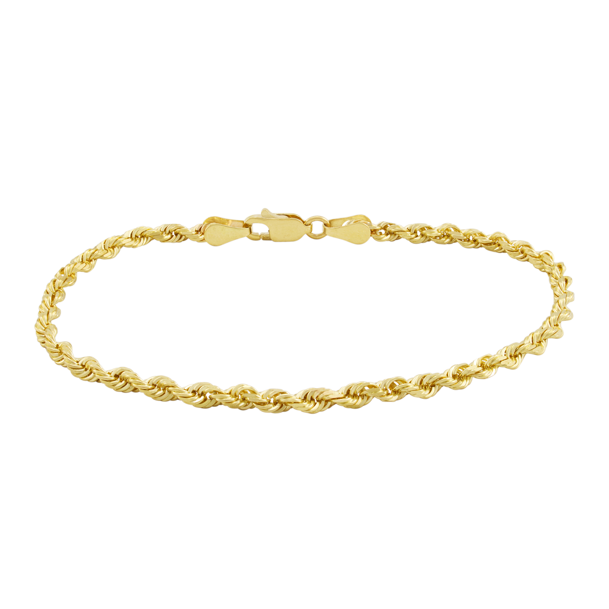 Real-14K-Yellow-Gold-2-5mm-Diamond-Cut-Rope-Chain-Link-Bracelet-Anklet-7-034-8-034-9-034 thumbnail 13