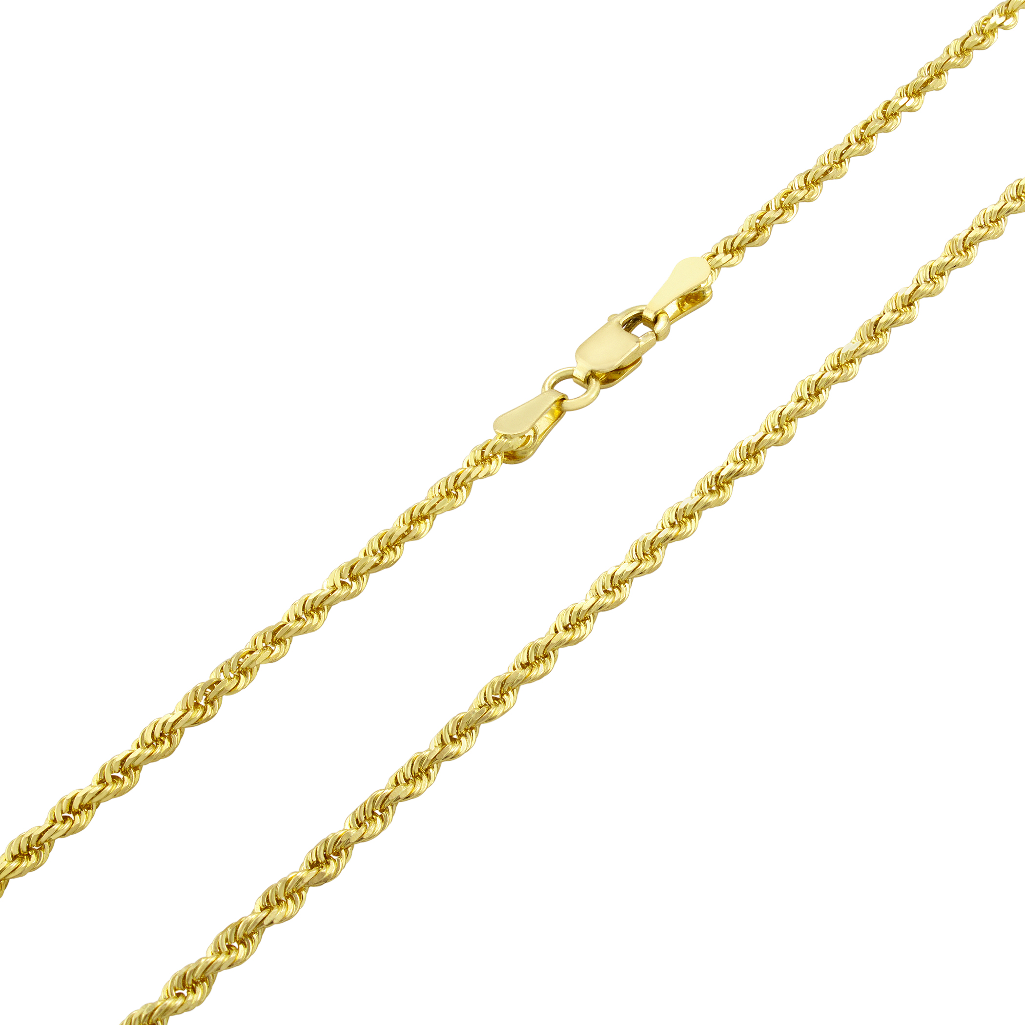 Solid-14K-Yellow-Gold-2-5mm-Mens-Women-Diamond-Cut-Rope-Chain-Necklace-16-034-30-034 thumbnail 13