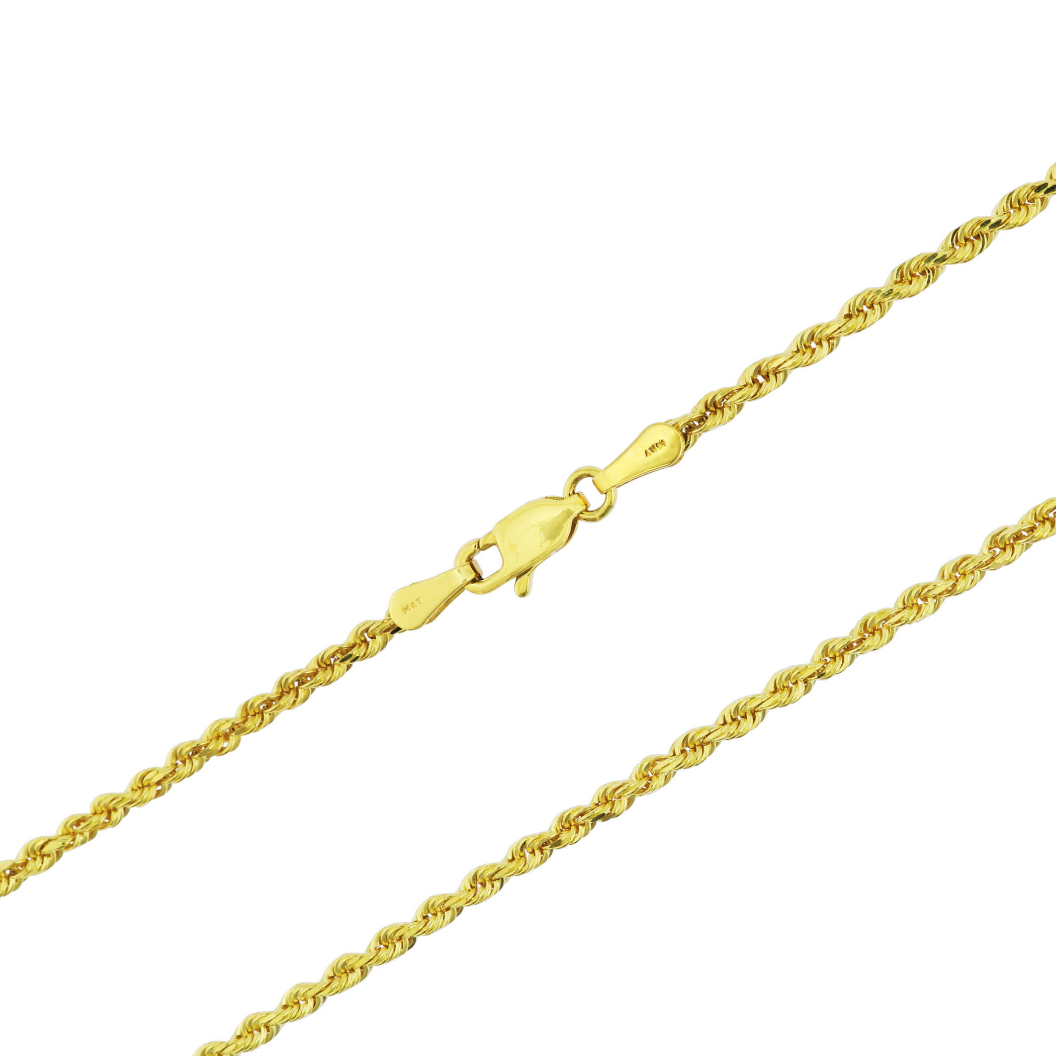 Real-14K-Yellow-Gold-2-5mm-Diamond-Cut-Rope-Chain-Link-Bracelet-Anklet-7-034-8-034-9-034 thumbnail 23