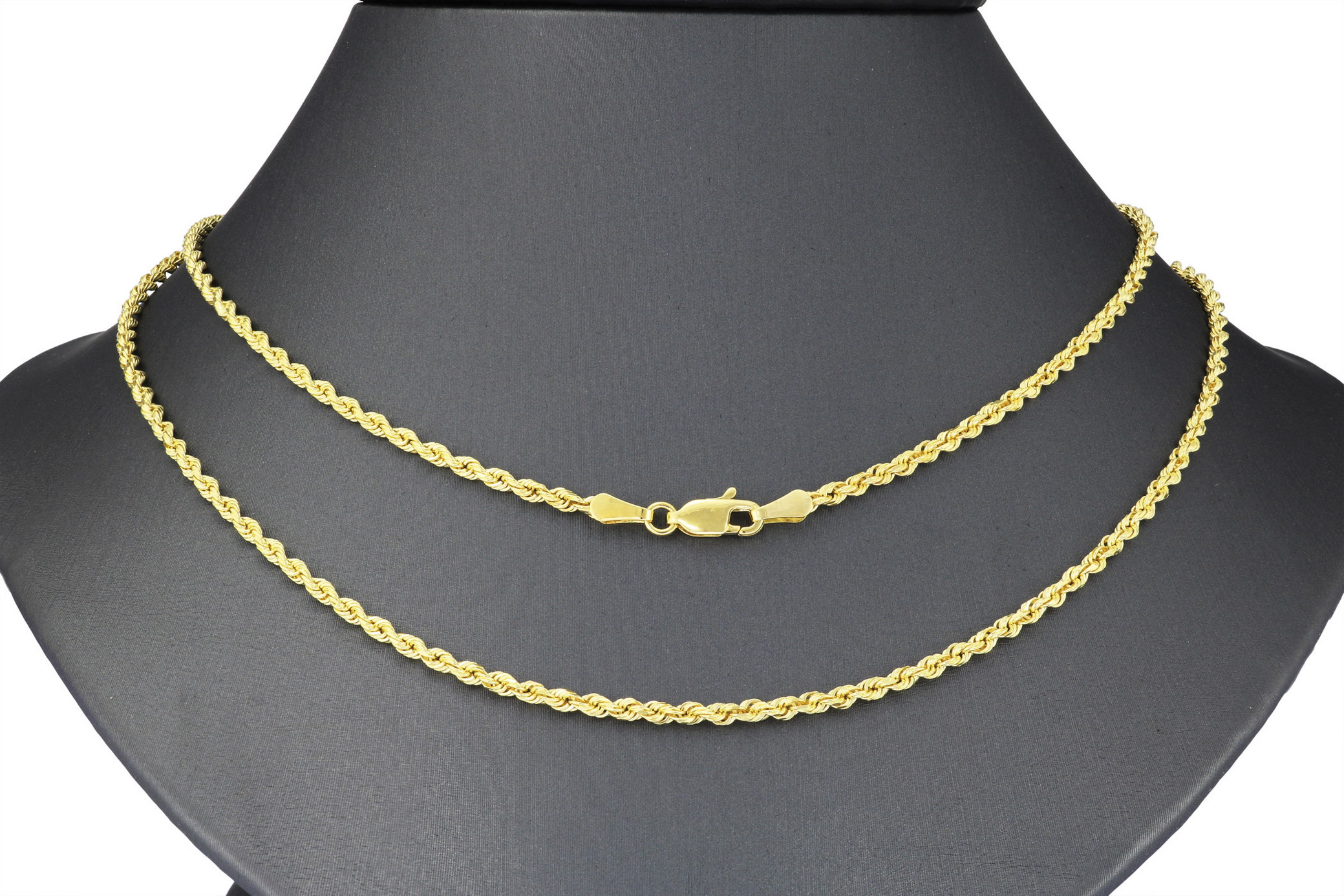 Solid-14K-Yellow-Gold-2-5mm-Mens-Women-Diamond-Cut-Rope-Chain-Necklace-16-034-30-034 thumbnail 23