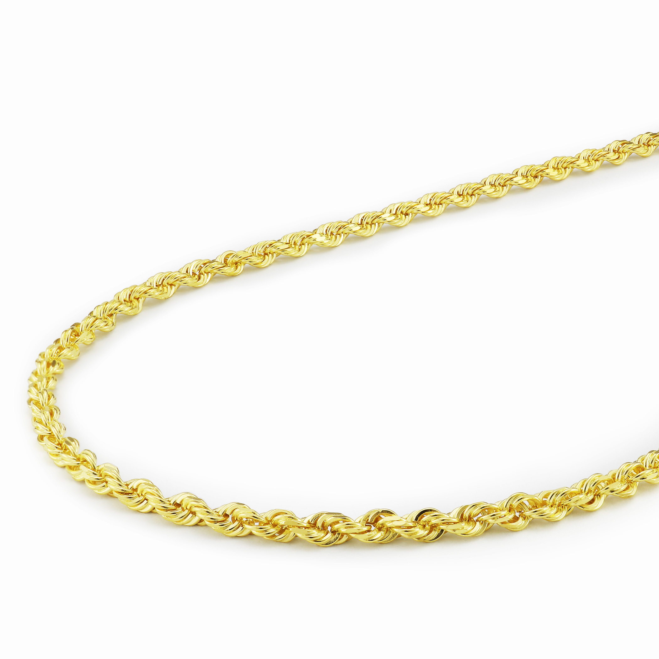 """14k Real Yellow Gold Womens 2mm Diamond Cut Rope Chain Link Pendant Necklace 16/"""""""
