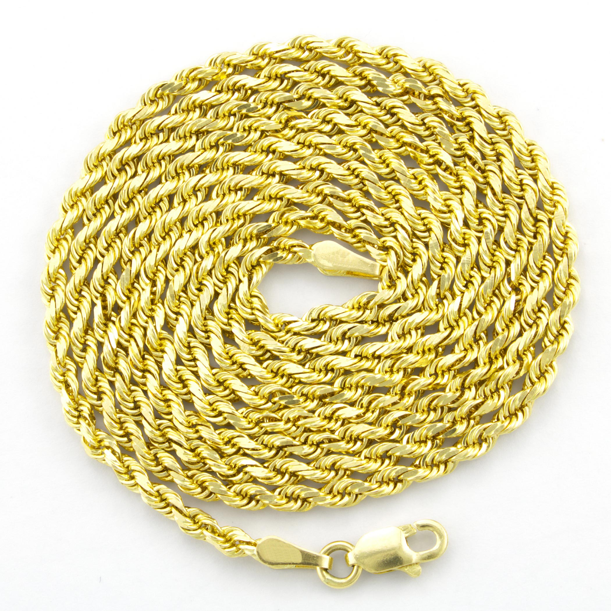 Solid-14K-Yellow-Gold-2-5mm-Mens-Women-Diamond-Cut-Rope-Chain-Necklace-16-034-30-034 thumbnail 18