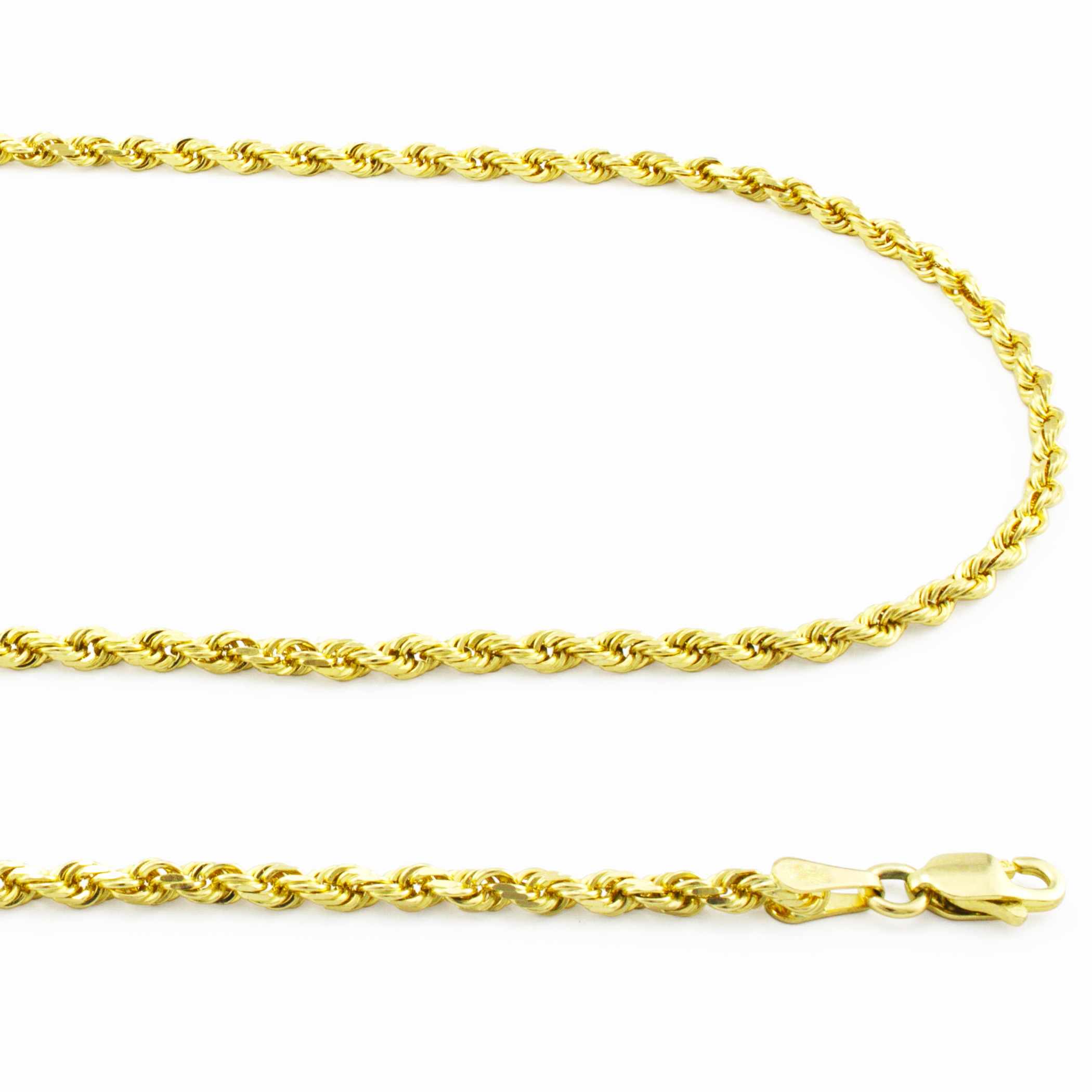 Real-14K-Yellow-Gold-2-5mm-Diamond-Cut-Rope-Chain-Link-Bracelet-Anklet-7-034-8-034-9-034 thumbnail 21