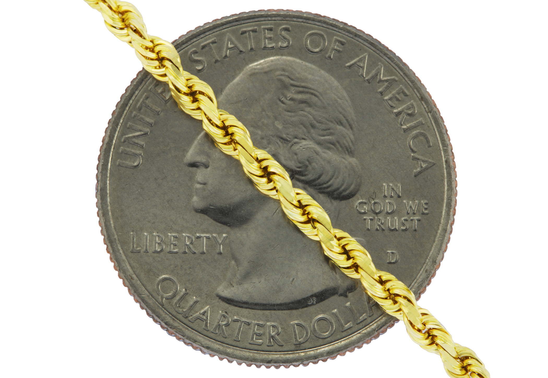 Real-14K-Yellow-Gold-2-5mm-Diamond-Cut-Rope-Chain-Link-Bracelet-Anklet-7-034-8-034-9-034 thumbnail 22