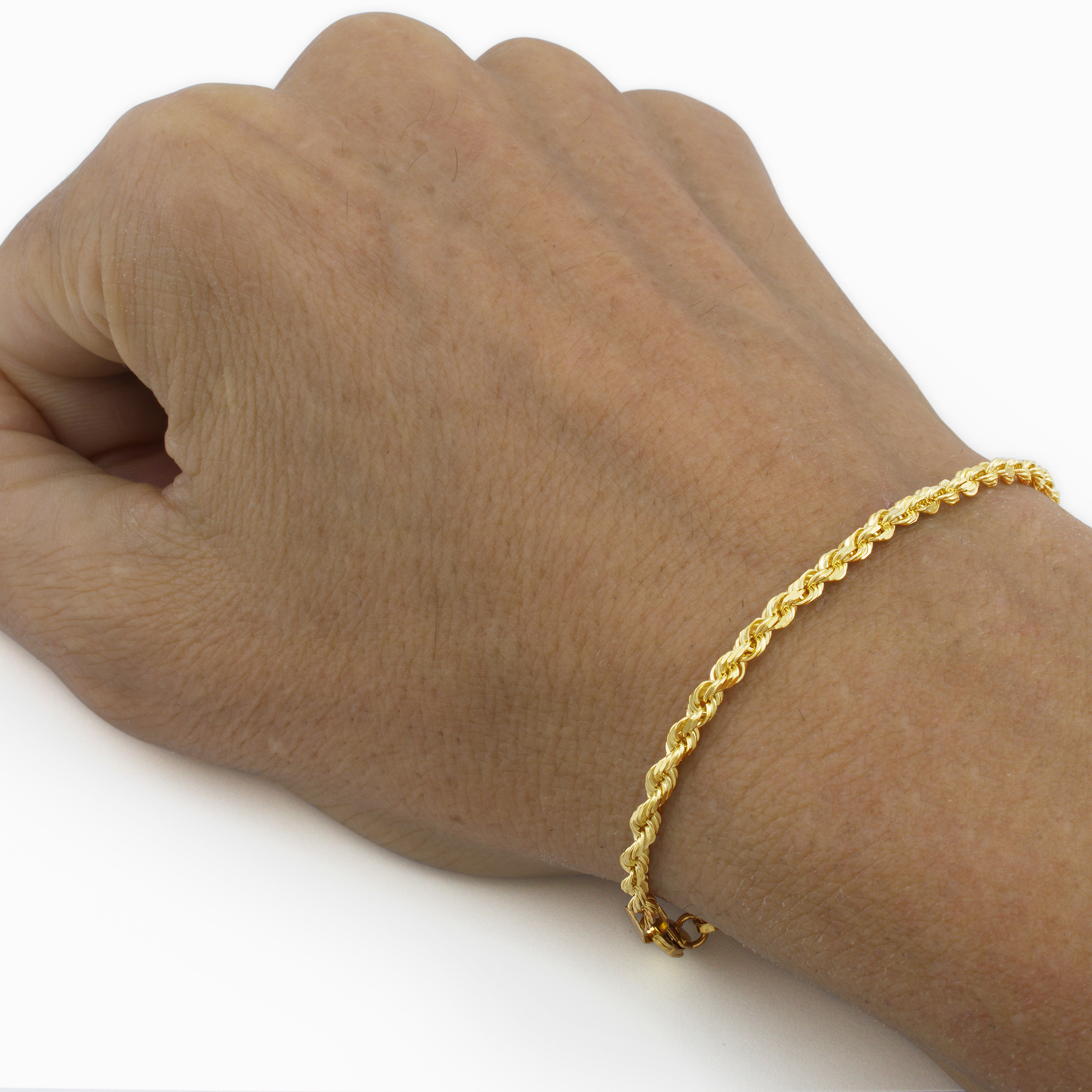 Real 14k Yellow Gold 3mm Diamond Cut Rope Chain Bracelet