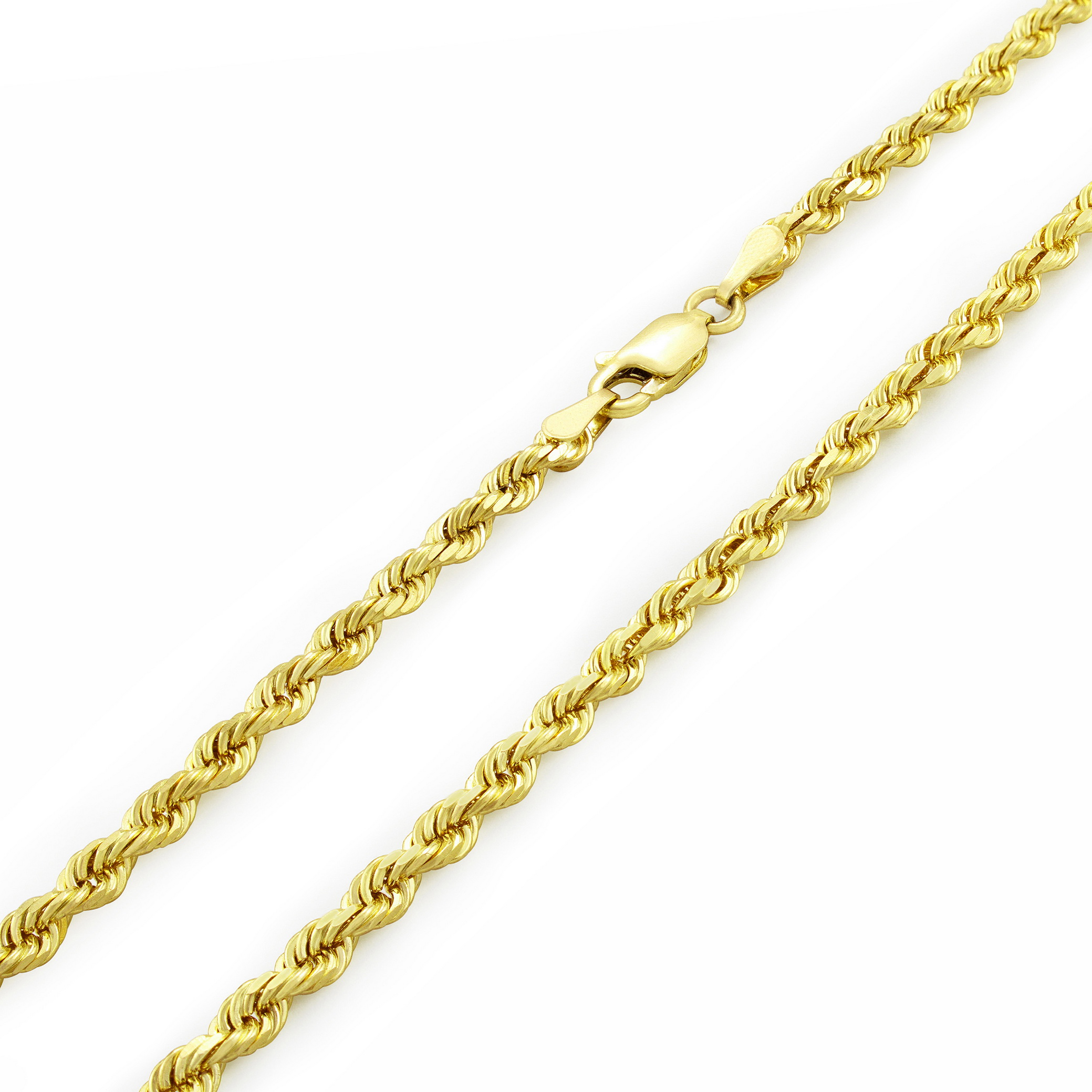 Real-14K-Yellow-Gold-3mm-Diamond-Cut-Rope-Chain-Necklace-Lobster-Clasp-18-034-30-034 thumbnail 23