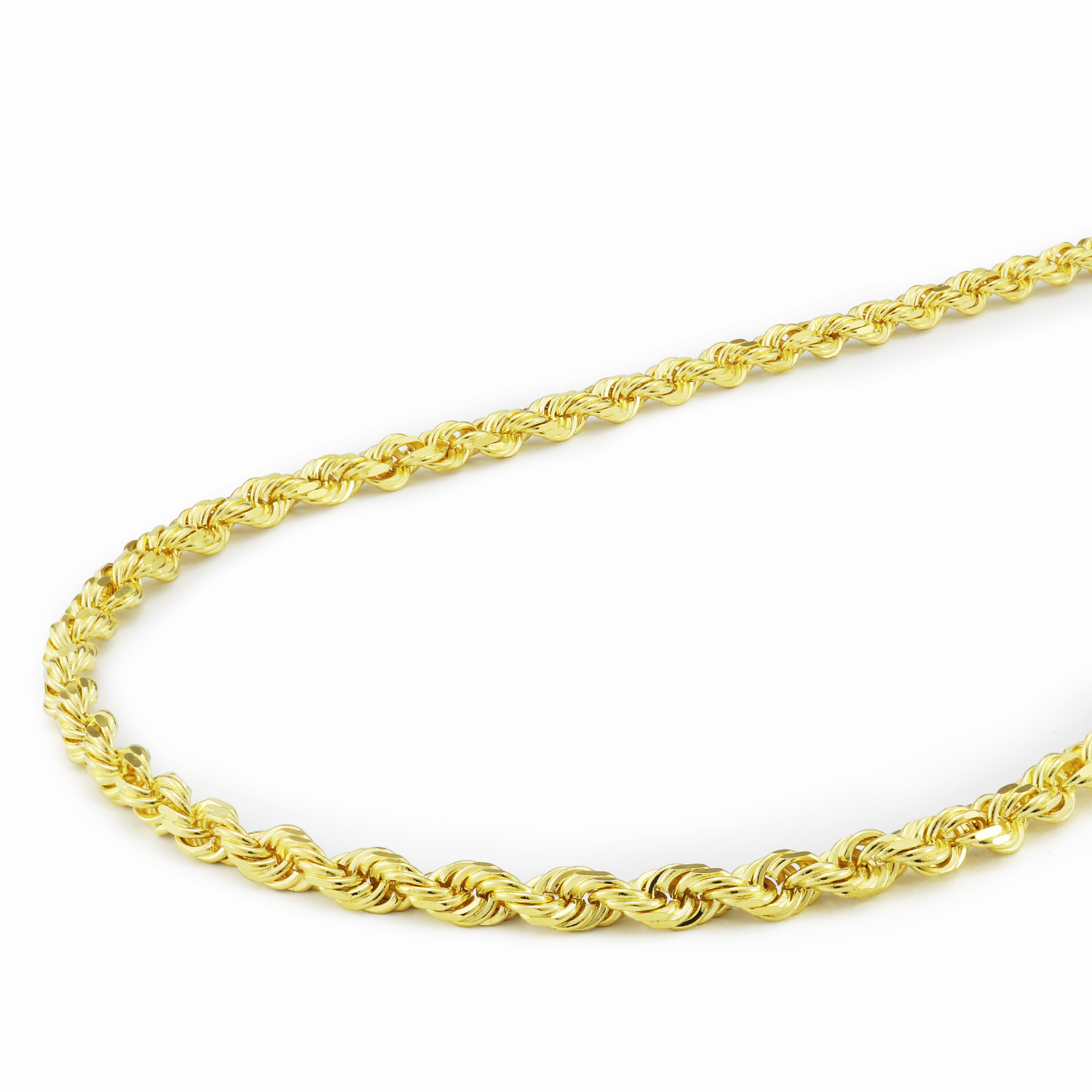Real-14K-Yellow-Gold-3mm-Diamond-Cut-Rope-Chain-Necklace-Lobster-Clasp-18-034-30-034 thumbnail 24