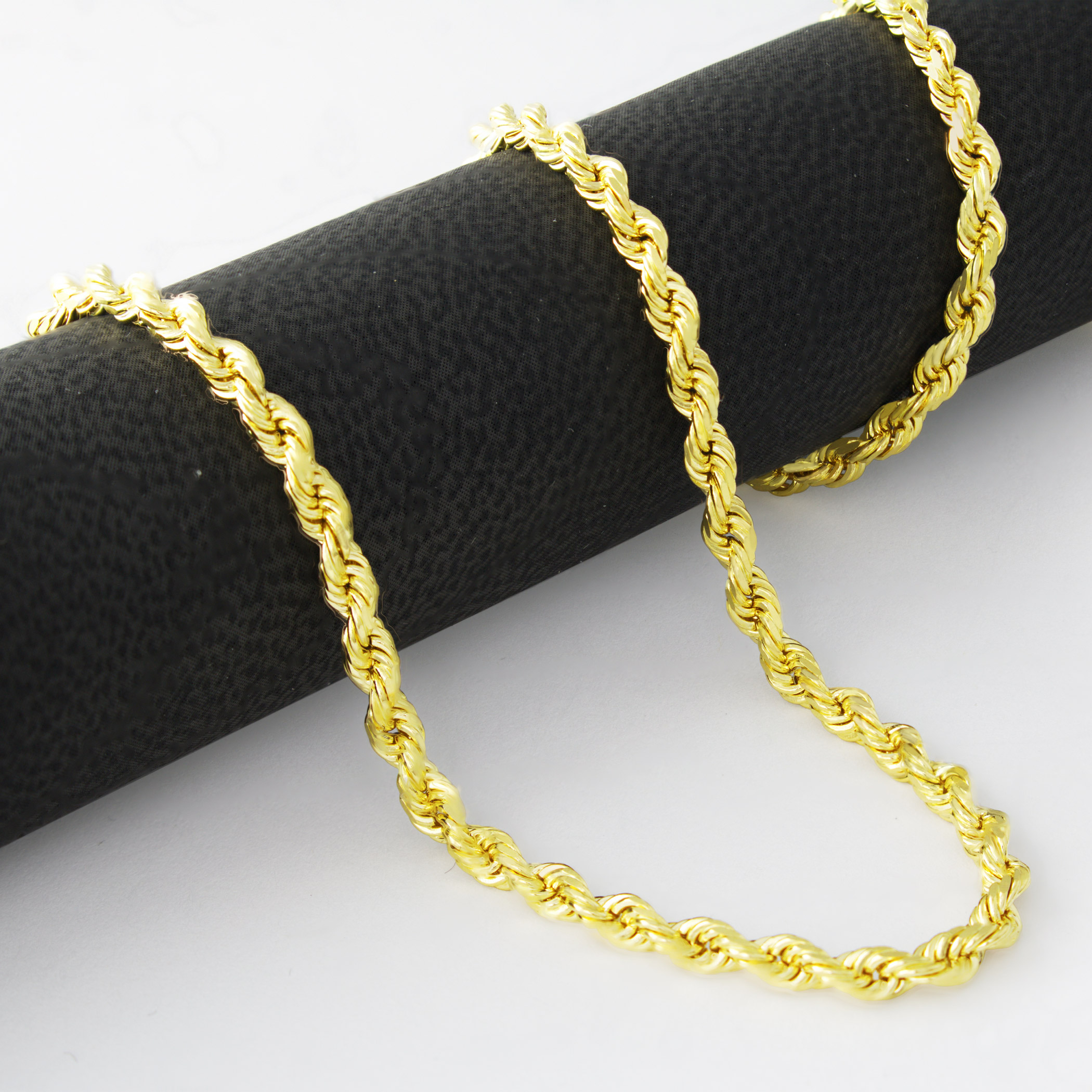 Real-14K-Yellow-Gold-3mm-Diamond-Cut-Rope-Chain-Necklace-Lobster-Clasp-18-034-30-034 thumbnail 17