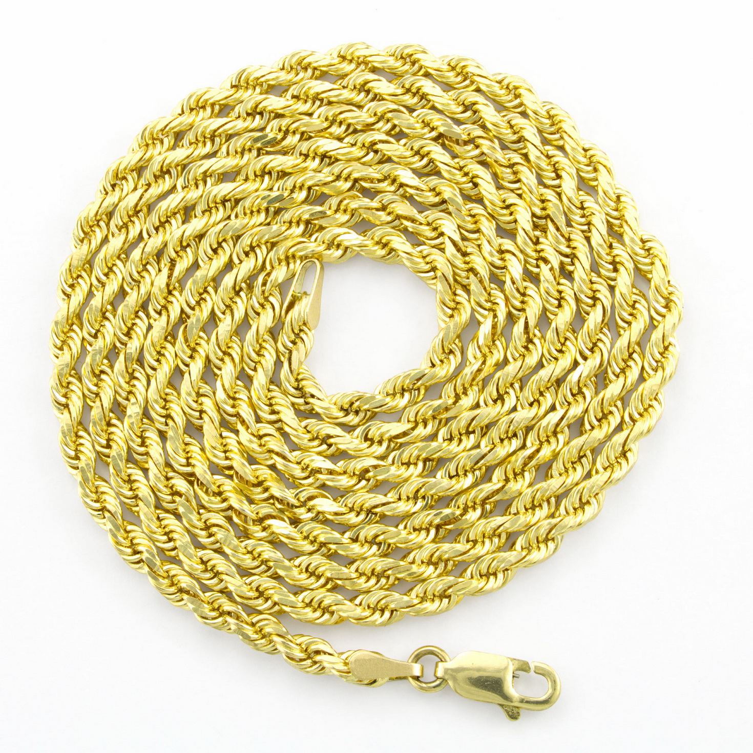 Real-14K-Yellow-Gold-3mm-Diamond-Cut-Rope-Chain-Necklace-Lobster-Clasp-18-034-30-034 thumbnail 18