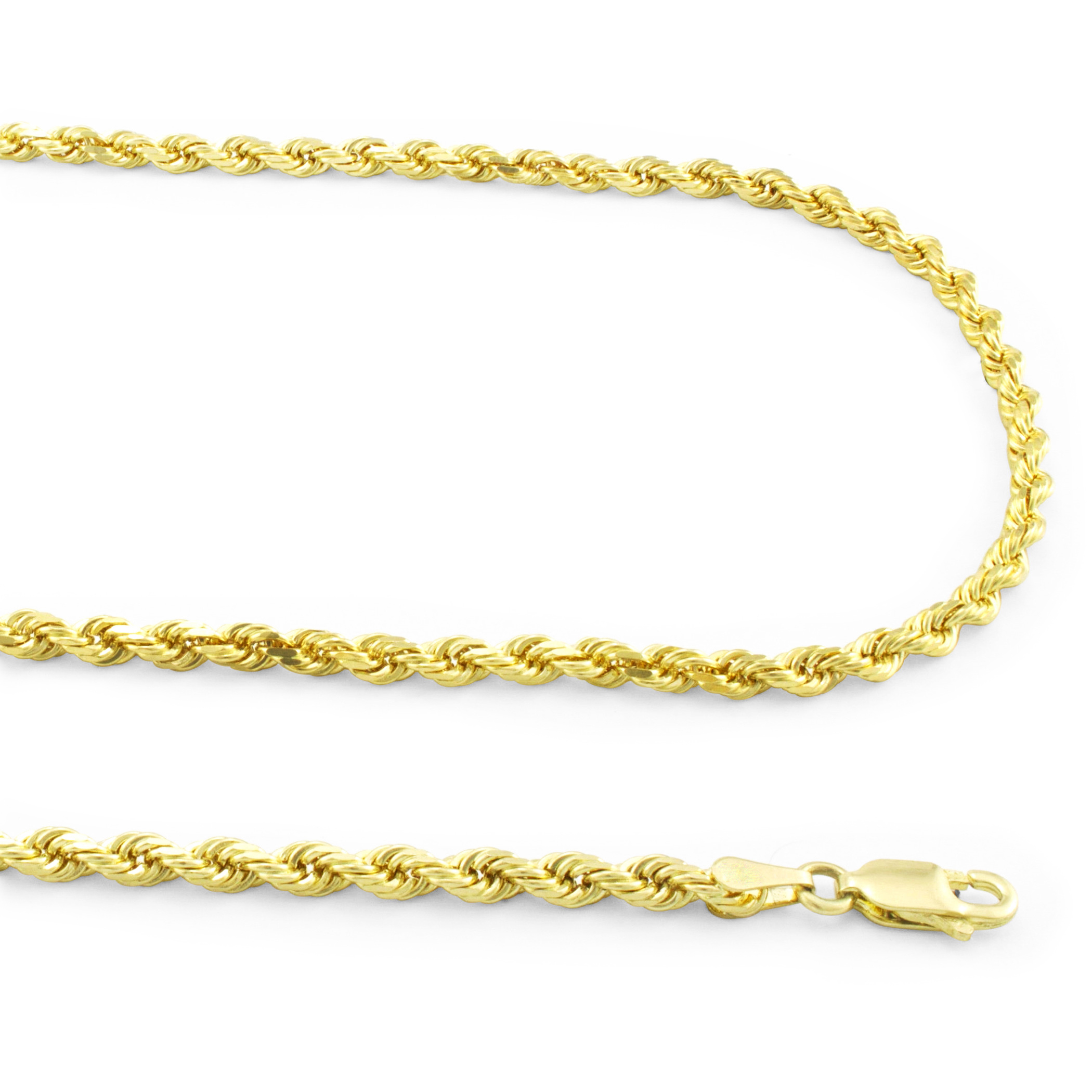 Real-14K-Yellow-Gold-3mm-Diamond-Cut-Rope-Chain-Necklace-Lobster-Clasp-18-034-30-034 thumbnail 13