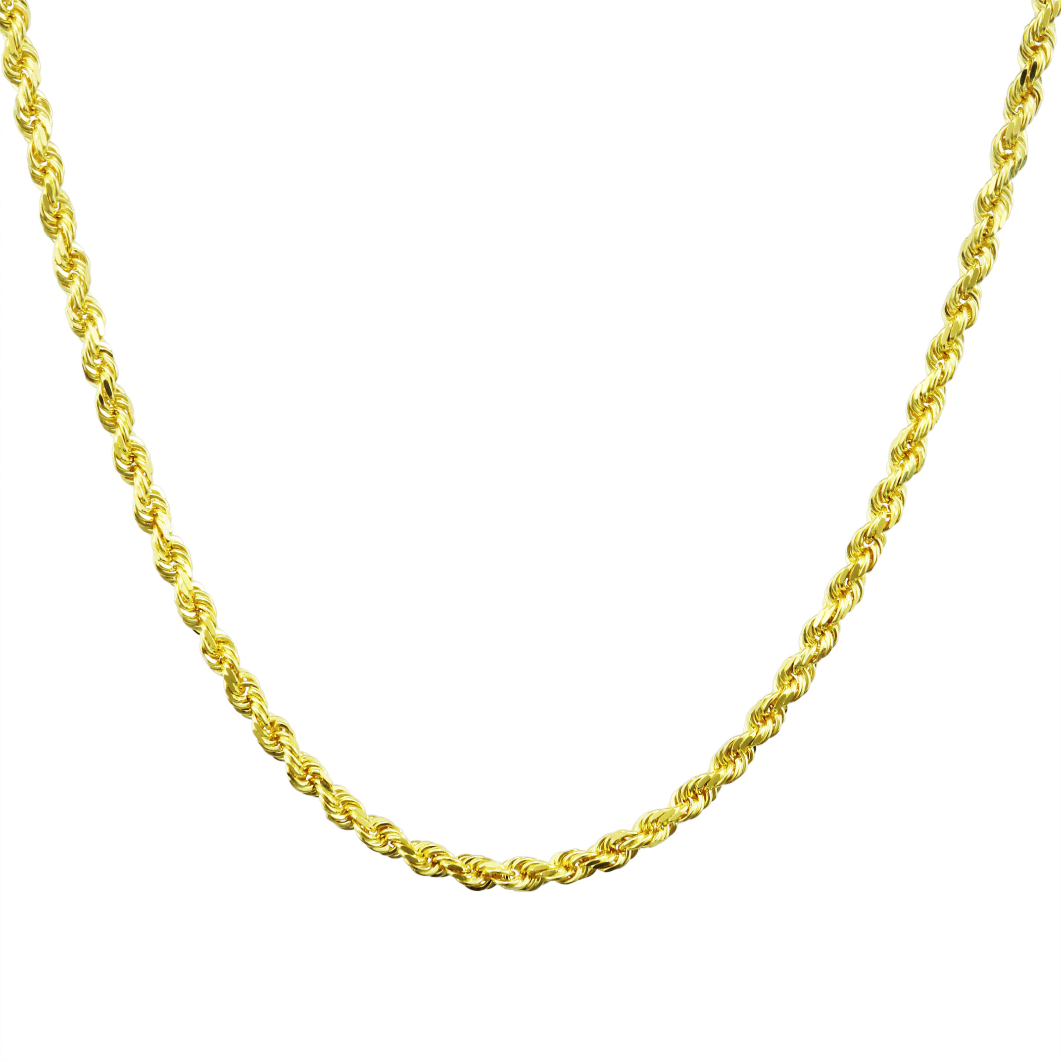 Real-14K-Yellow-Gold-3mm-Diamond-Cut-Rope-Chain-Necklace-Lobster-Clasp-18-034-30-034 thumbnail 21