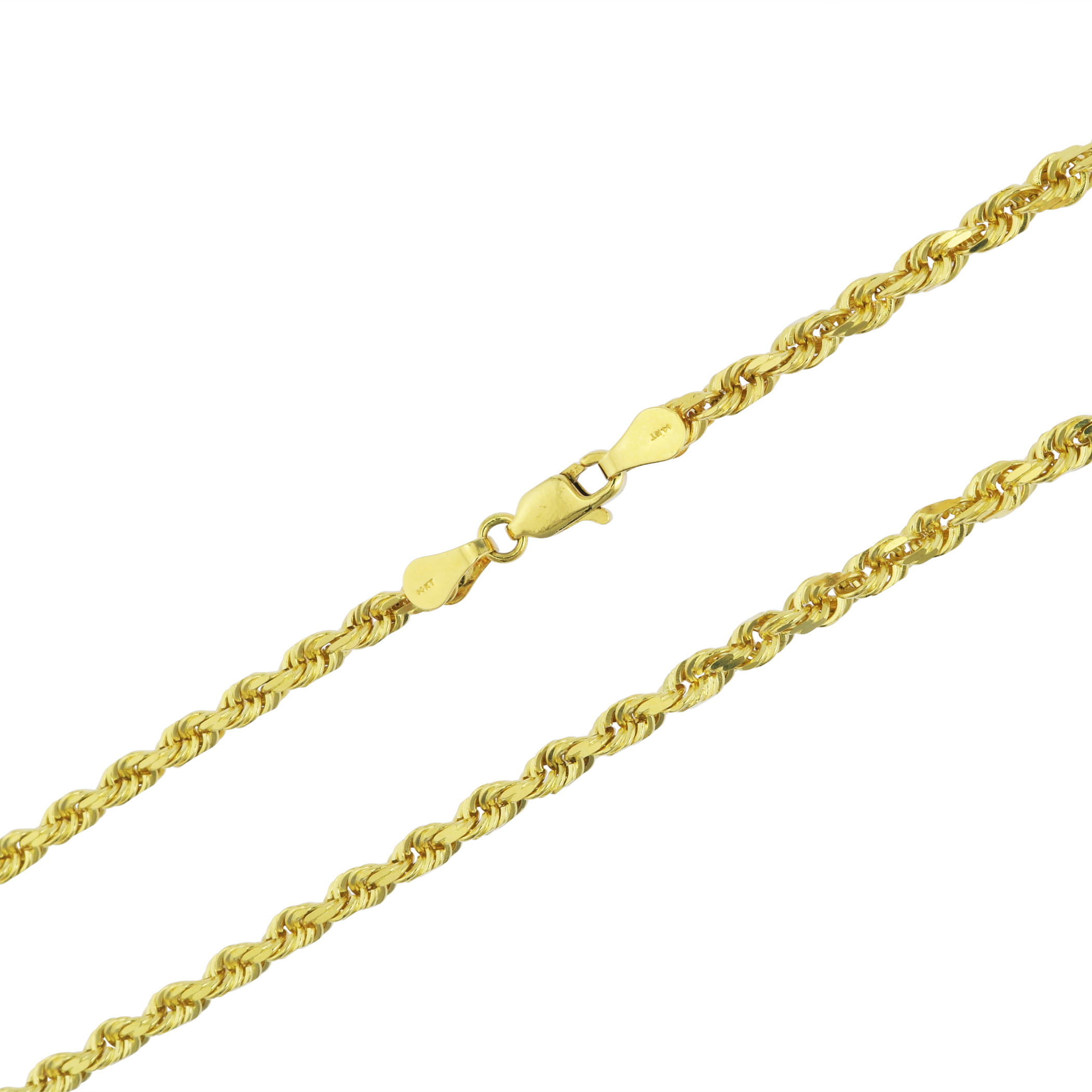 31db7095cbcc3 Details about 14K Solid Yellow Gold 3.5mm Italian Diamond Cut Rope Chain  Link Necklace 18