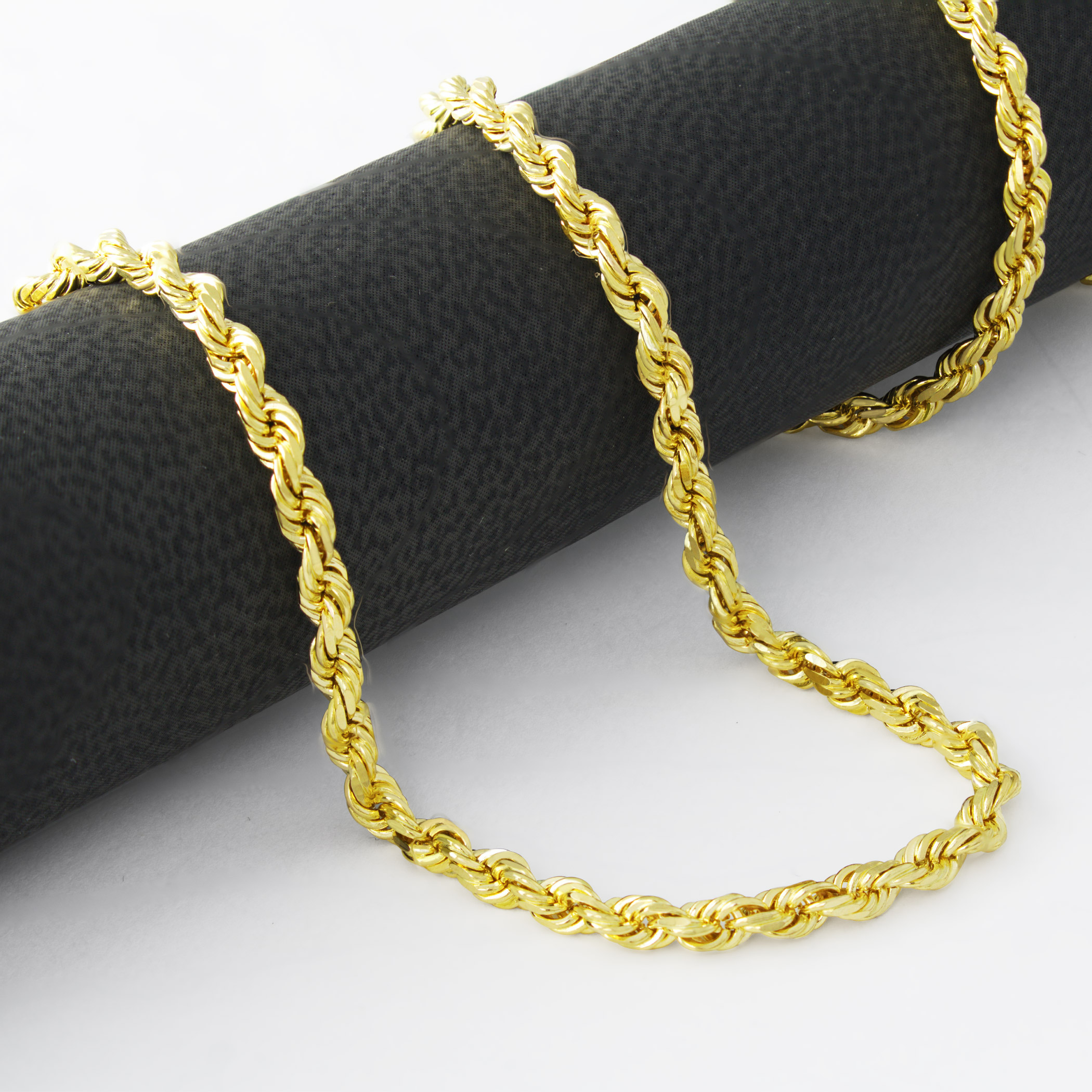 d64ccd0ca08ad Details about 14K Yellow Gold 4mm Italian Diamond Cut Rope Chain Necklace  Mens Women 20