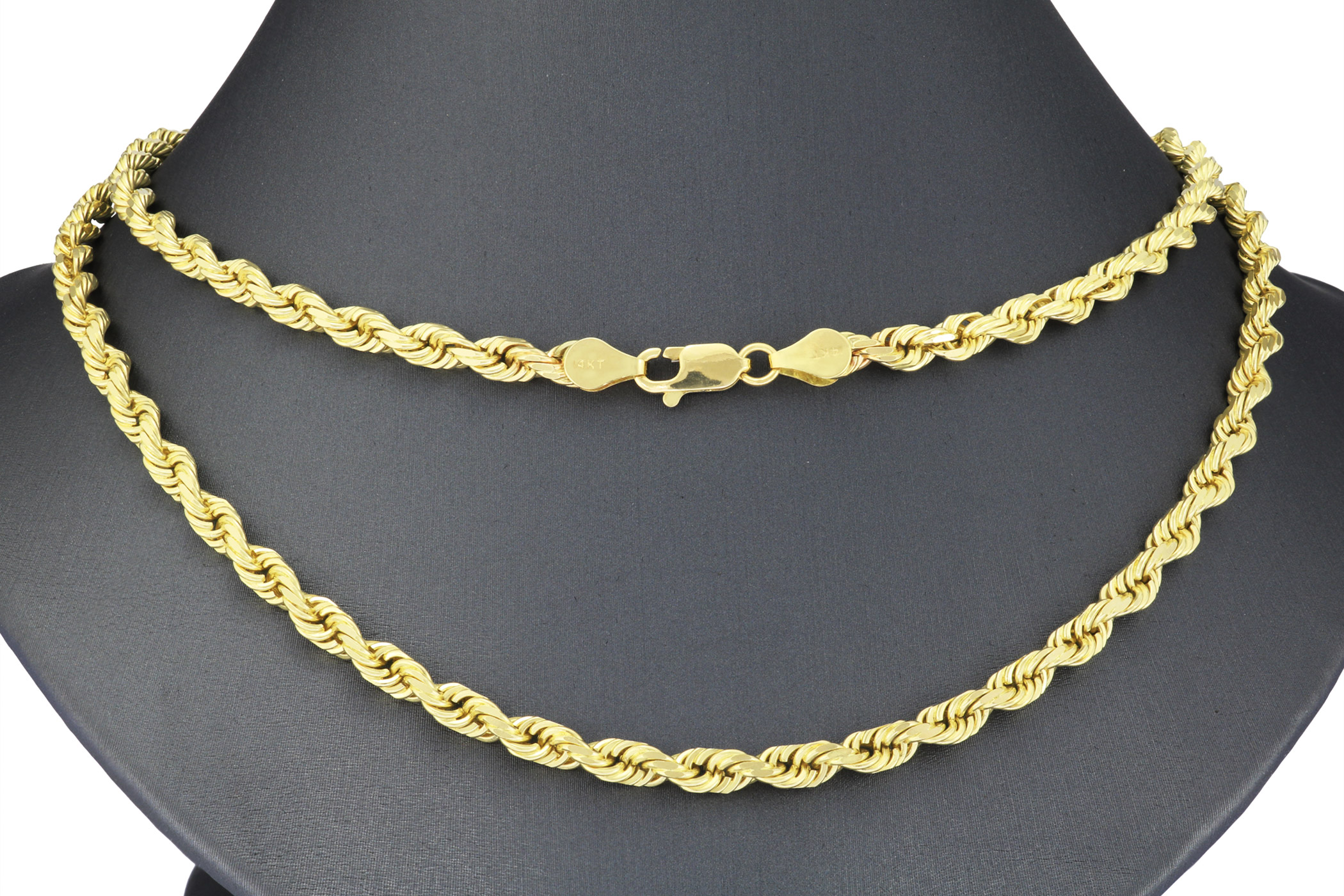 Solid 14k Yellow Gold Real 5mm Italian Diamond Cut Rope Chain Necklace 20 30 Ebay