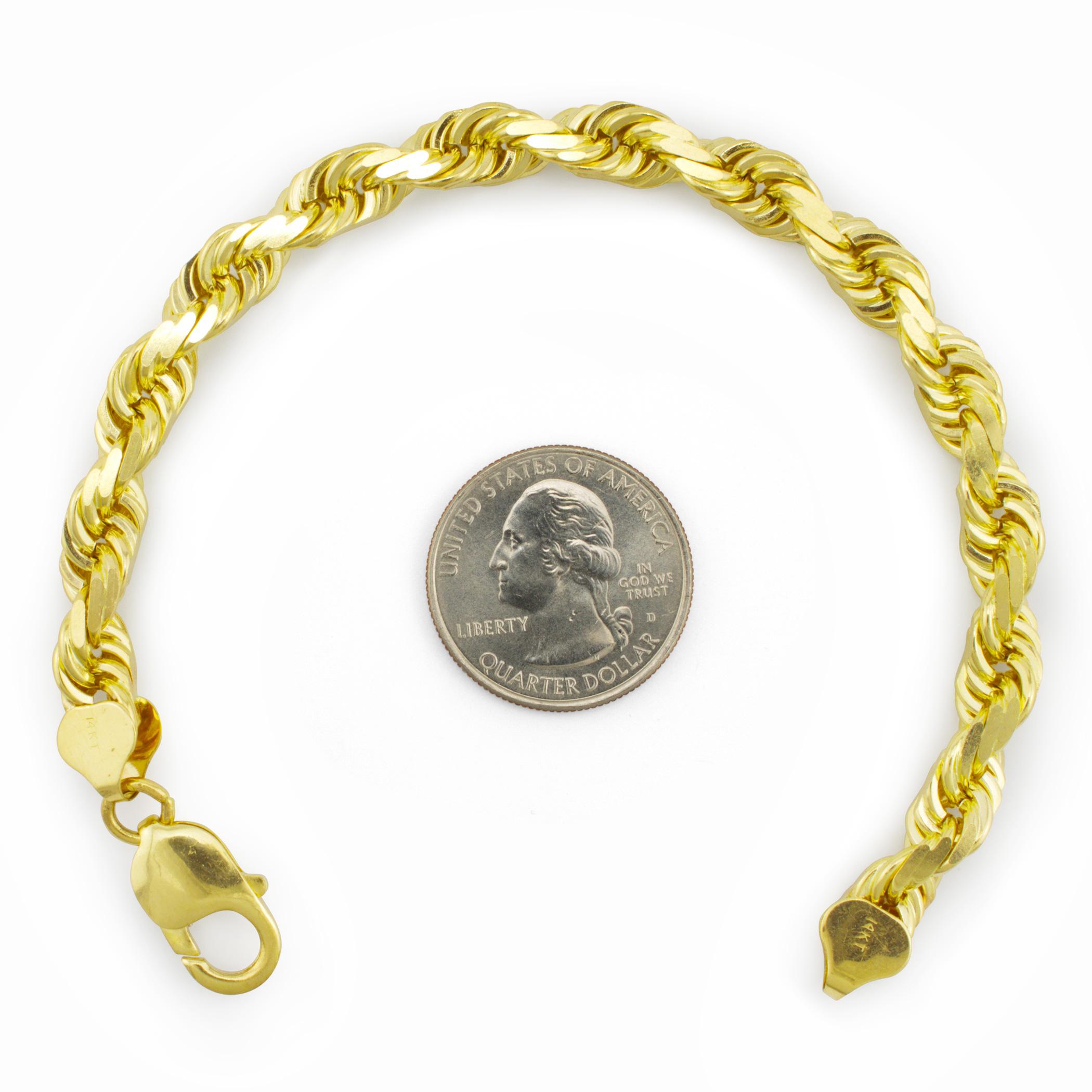 e2b30e05f3b2 14K Oro Amarillo Sólido 8mm Hombres Talla Diamante Soga Pulsera ...