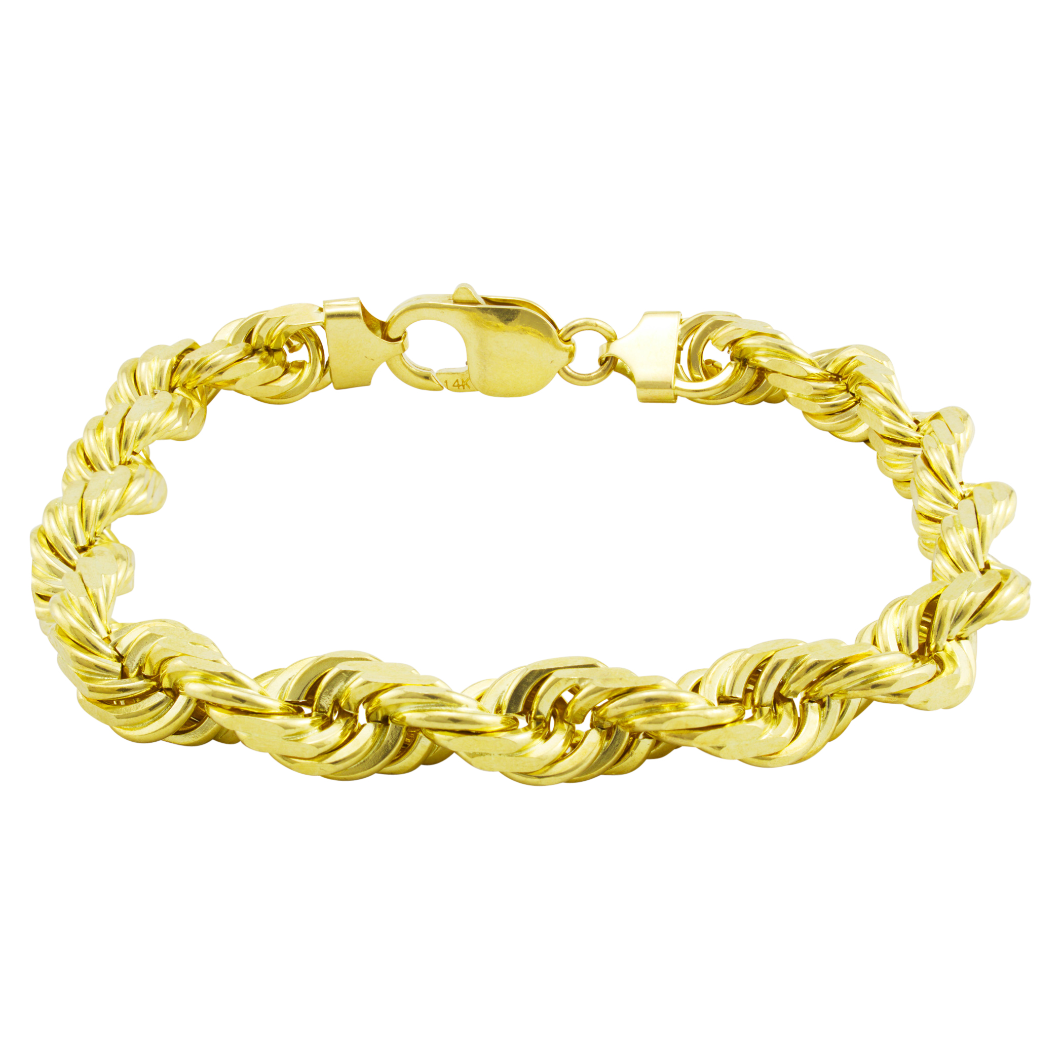 d6c215a5ed9649 14k Yellow Gold Mens 10mm Italian Diamond Cut SOLID Rope Chain ...