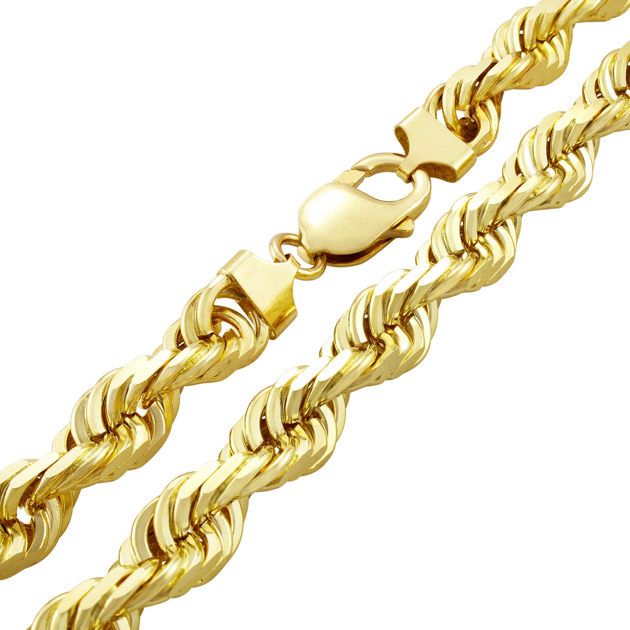 Real 14k Yellow Gold SOLID Mens 10mm Italian Diamond Cut Rope Chain