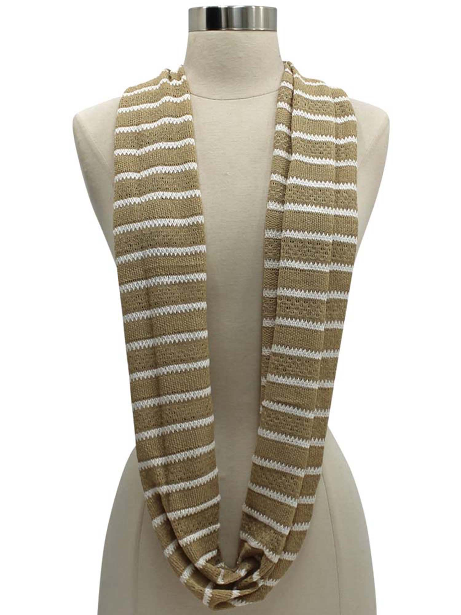 STRIPED COTTON KNIT LIGHTWEIGHT CIRCLE INFINITY SCARF | eBay