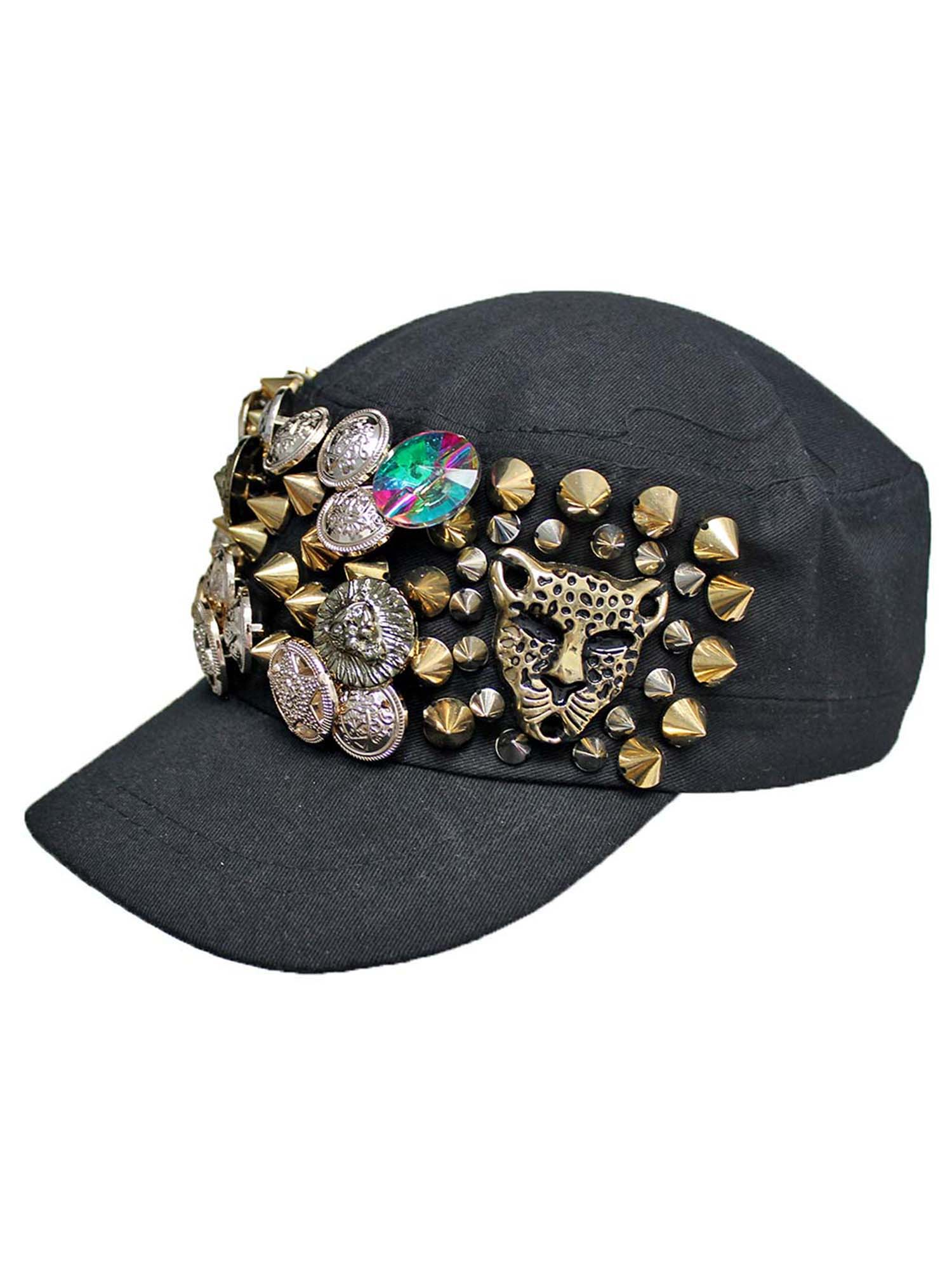 622114f68d86 BLACK CADET CAP HAT WITH GOLD SPIKES & BUTTONS 706433100750 | eBay