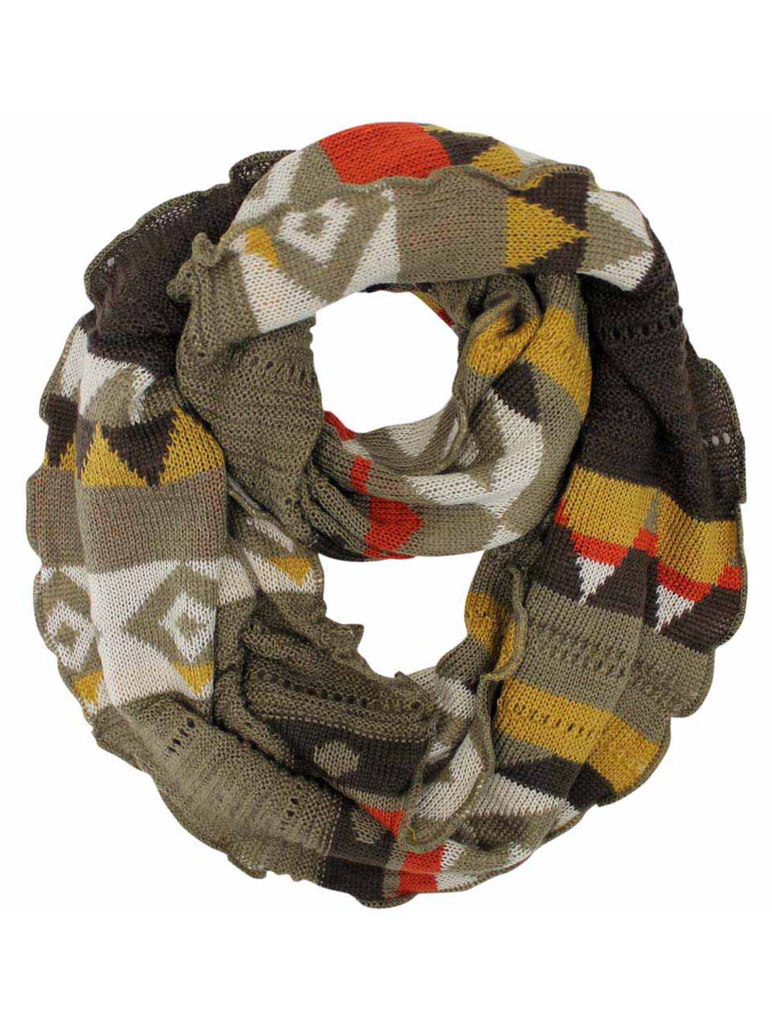 Colorful Knit Ring Infinity Scarf With Ruffled Edge Ebay