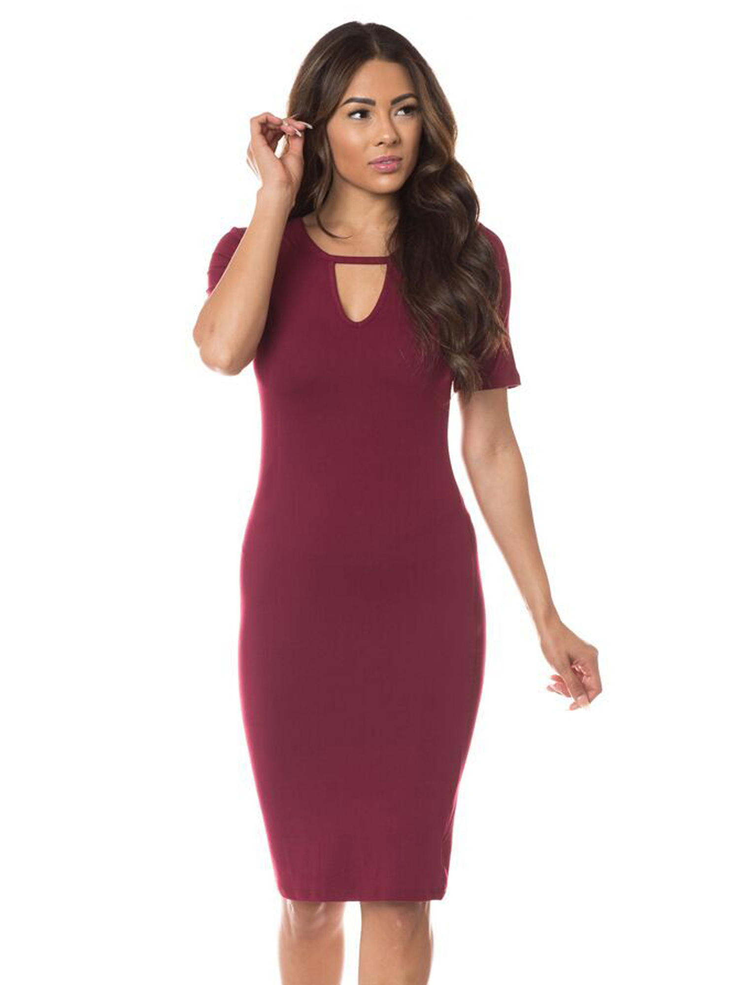 That come short sleeve midi bodycon dress for pear